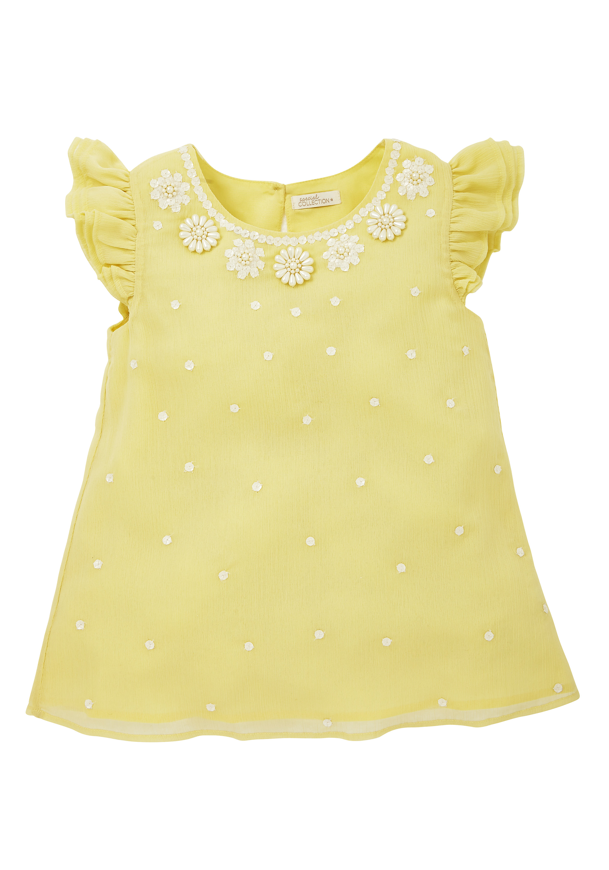 Mothercare | Girls Embellished Neck Blouse - Yellow