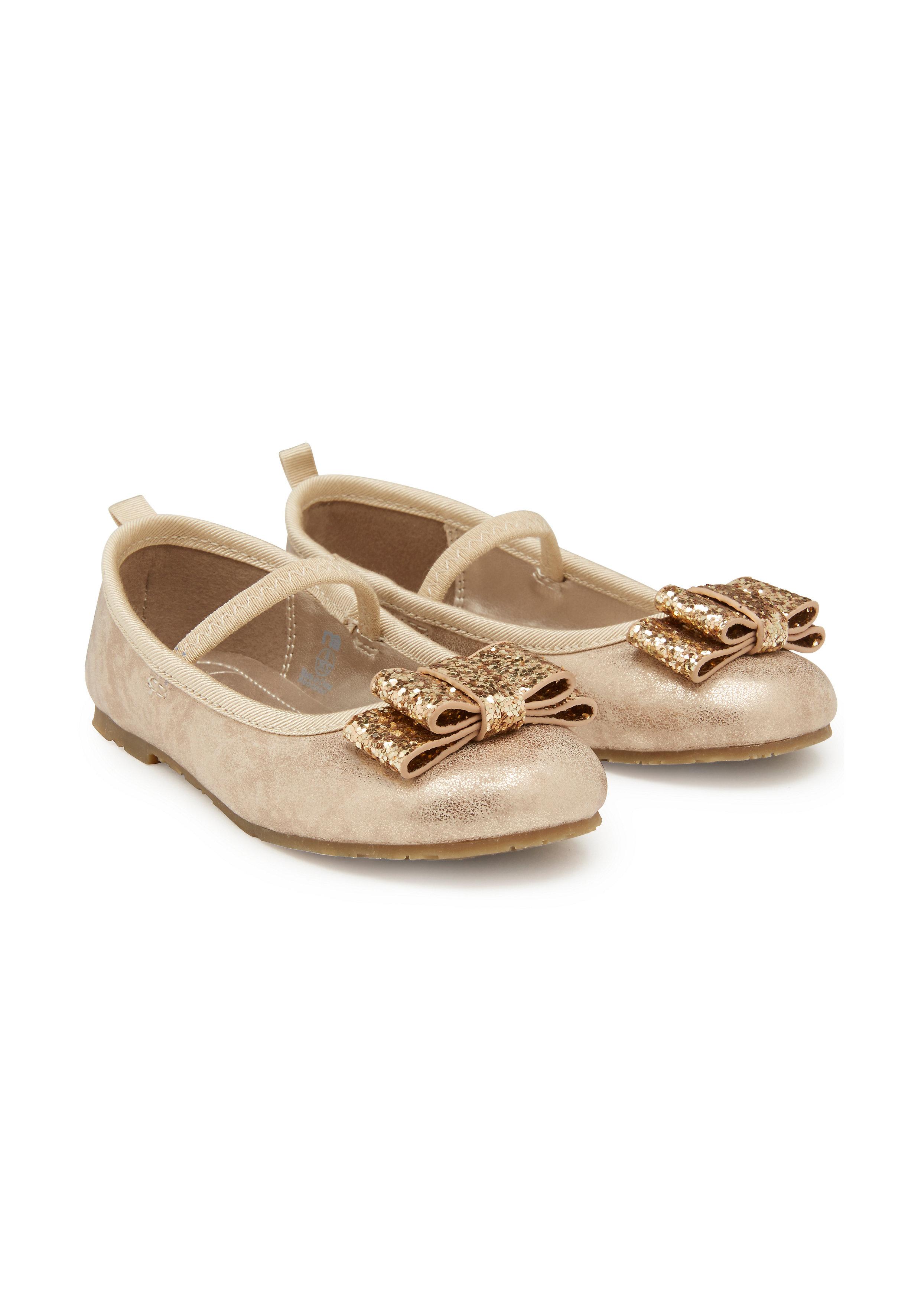 Mothercare | Girls Ballerinas Glitter Bow Detail - Gold