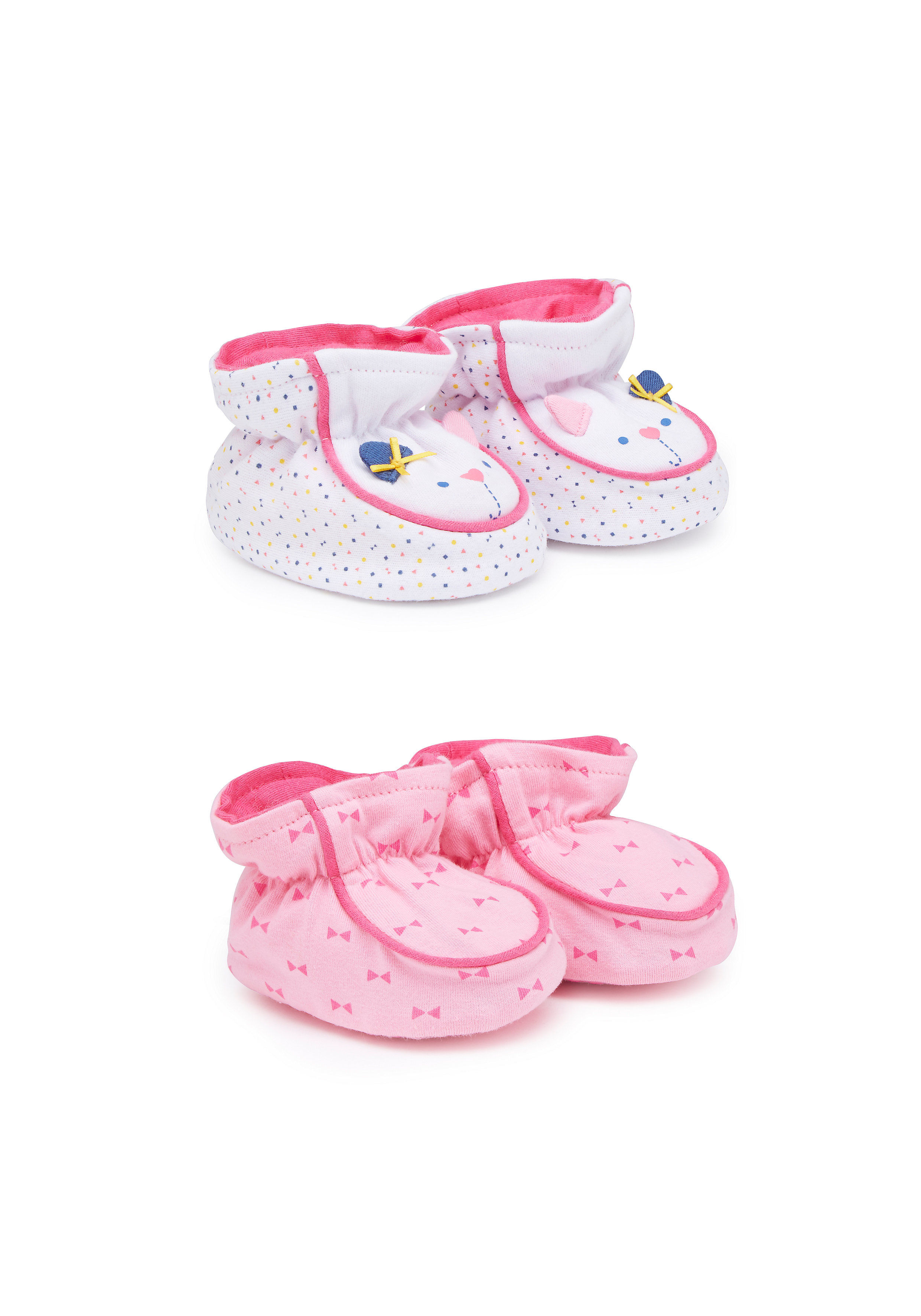 Mothercare | Girls Booties 3D Mouse Detail - Pack Of 2 - Multicolor