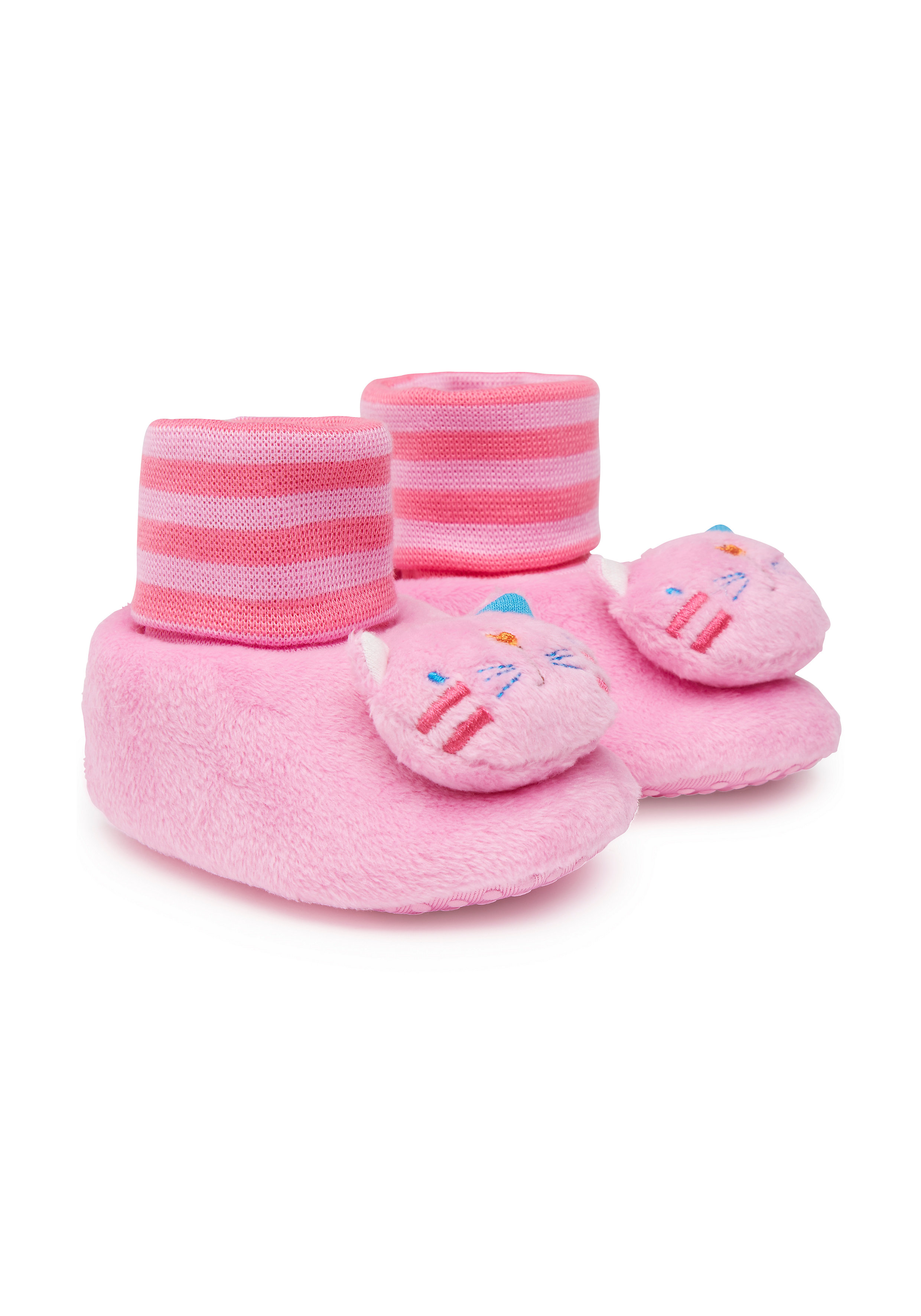 Mothercare   Girls Cat Rattle Booties - Pink