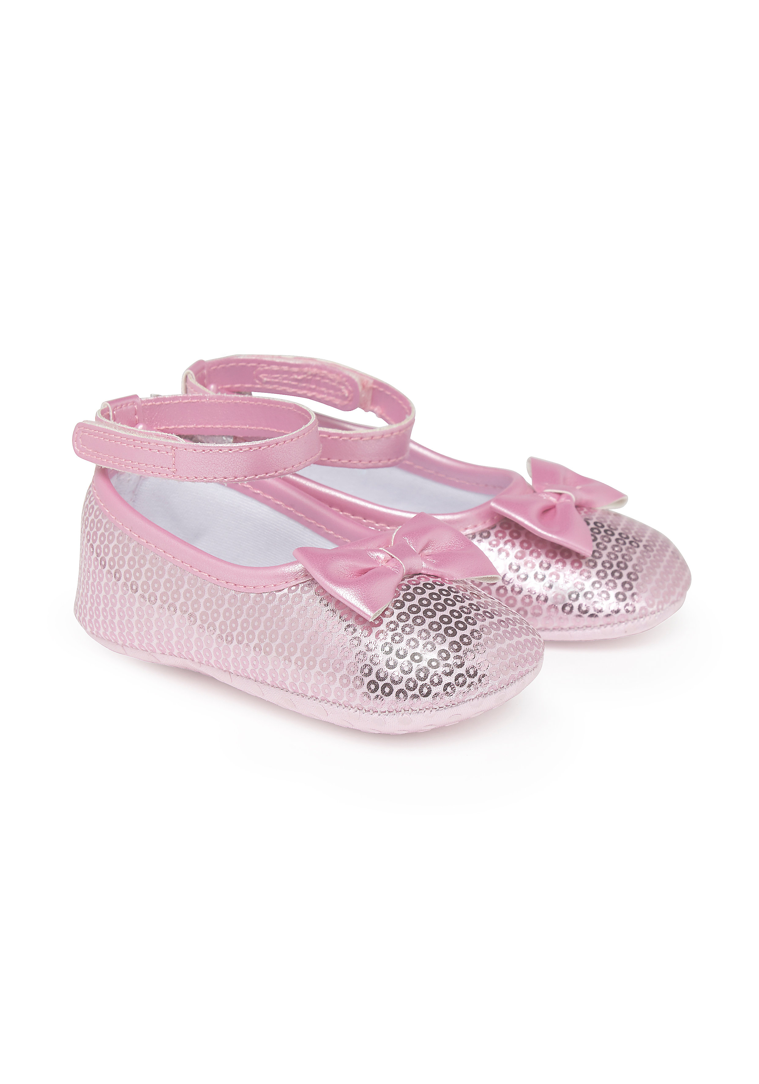 Mothercare | Girls Pram Shoes Sequin Bow Detail - Pink