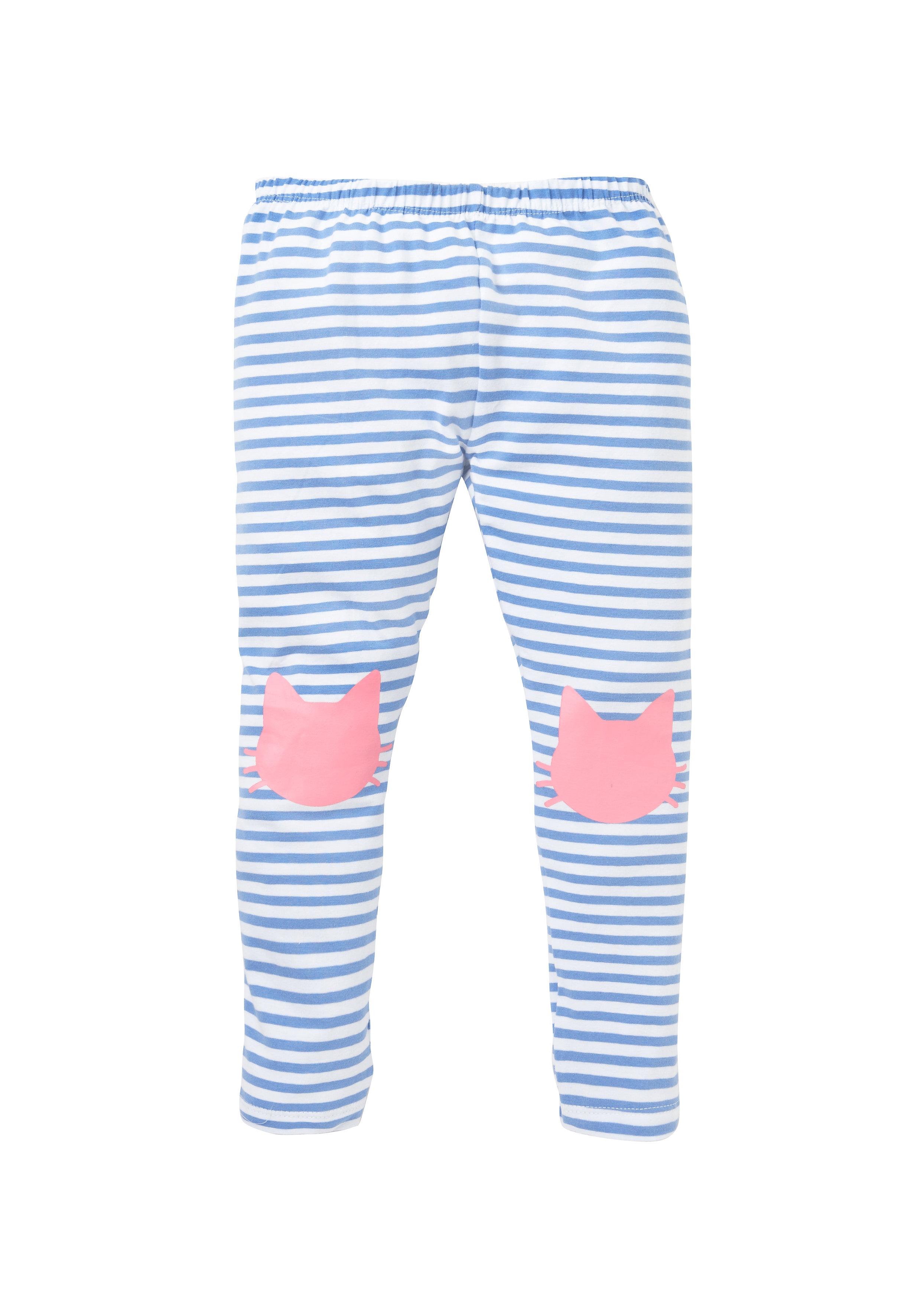 Mothercare   Girls Striped Cat Leggings - Blue