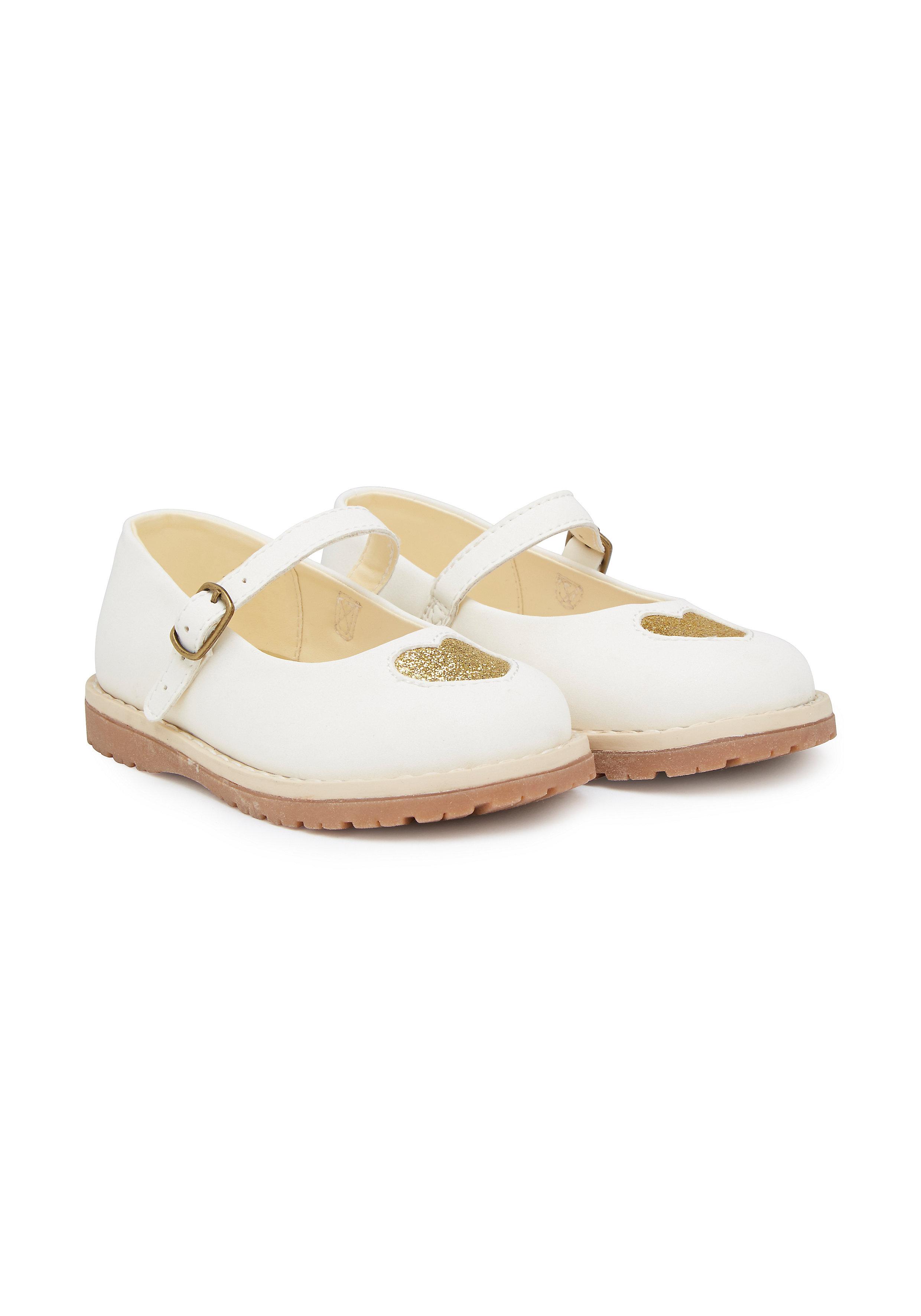 Mothercare   Girls First Walker Shoes Glitter Heart - Cream