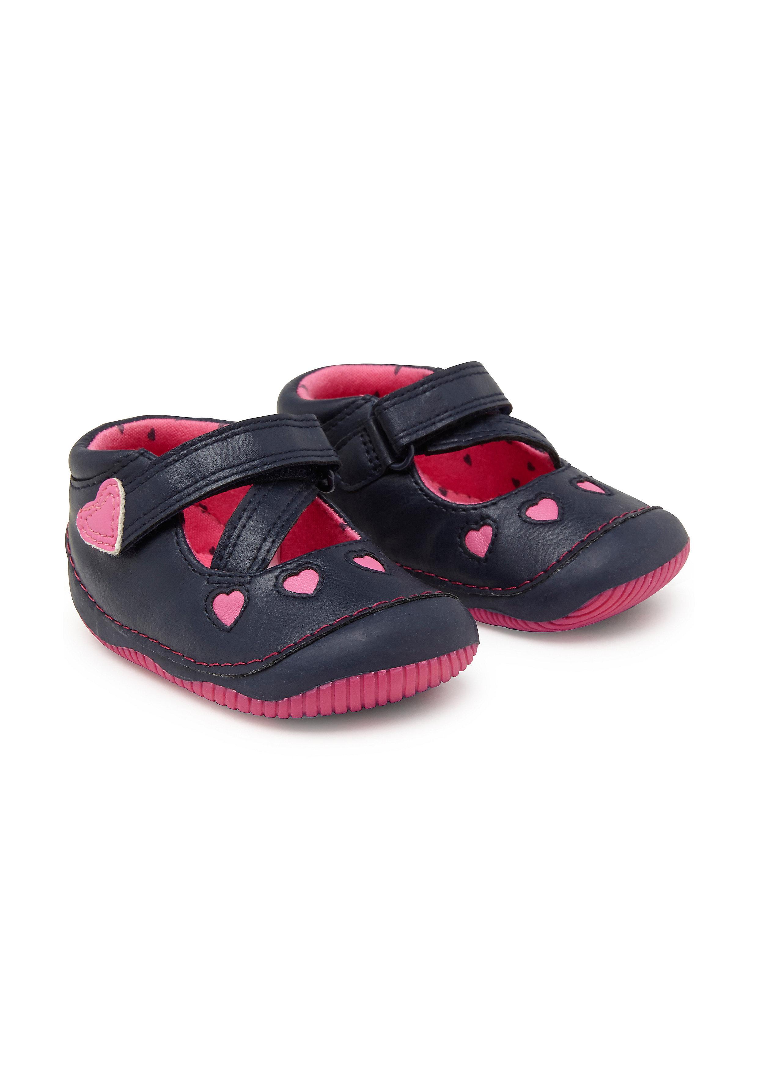 Mothercare | Girls First Walker Shoes Heart Design - Navy