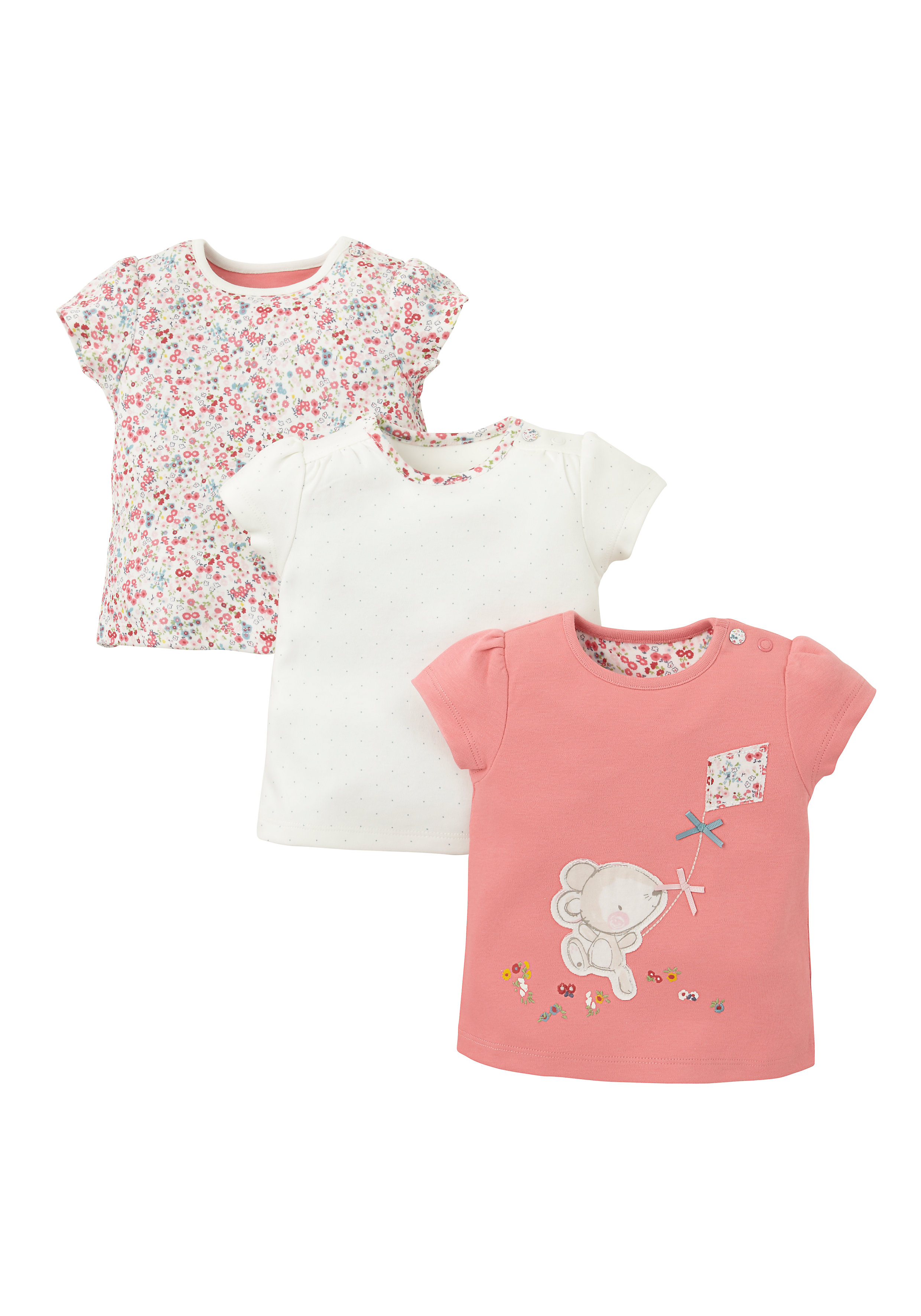 Mothercare | Girls Half Sleeves T-Shirt Mouse Patchwork - Pack Of 3 - Multicolor