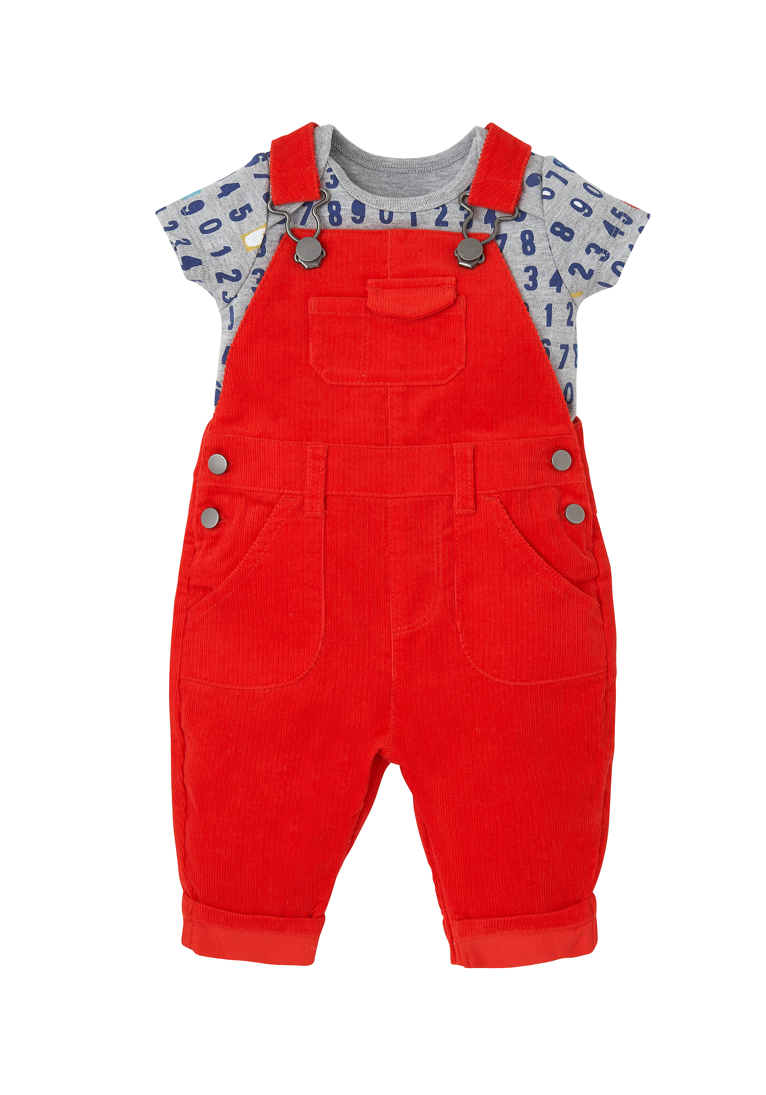 Mothercare | Boys Half Sleeves Cord Dungaree Set Number Print - Red