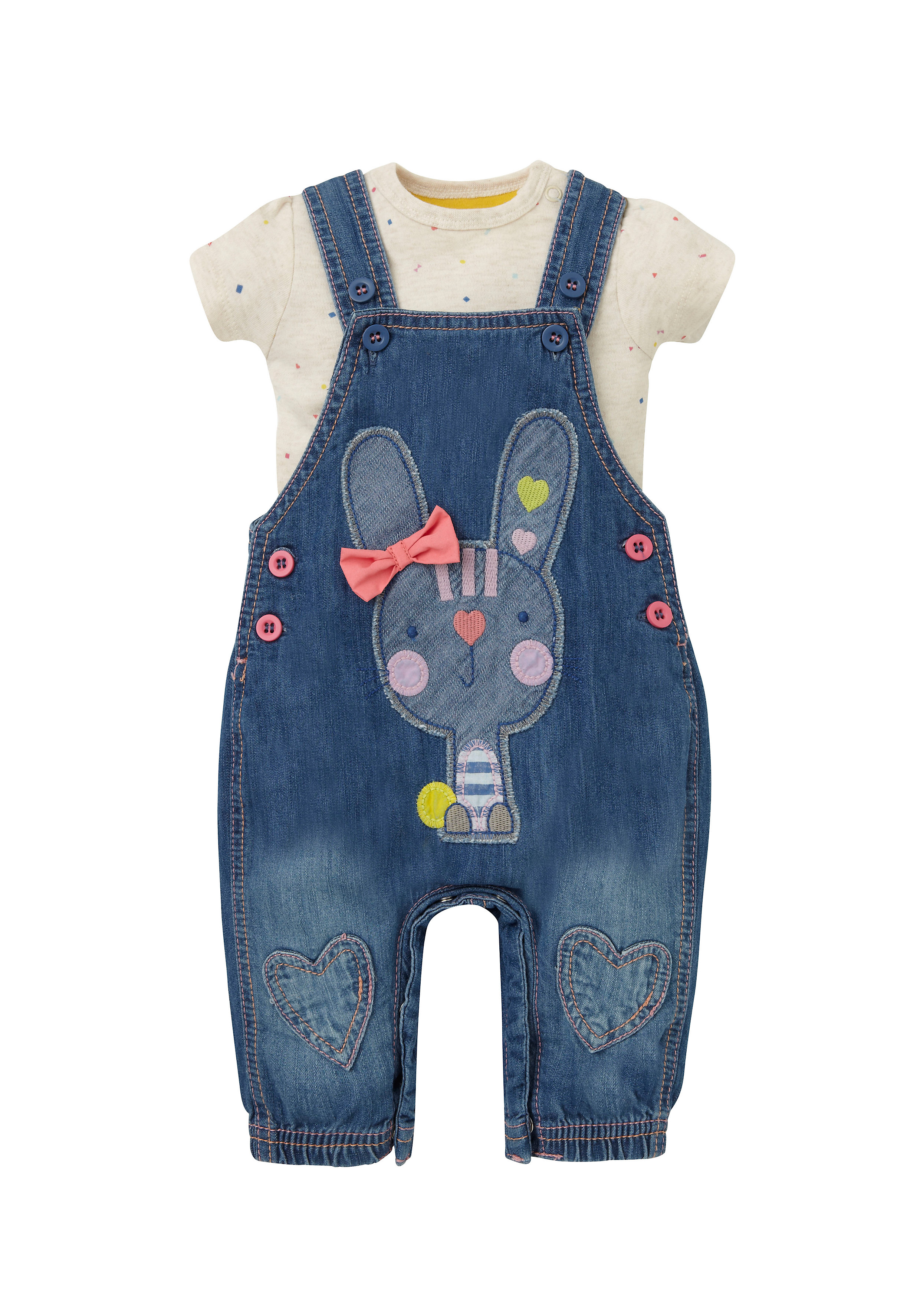 Mothercare | Girls Half Sleeves Bodysuit And Dungaree Set 3D Bow Detail - Blue