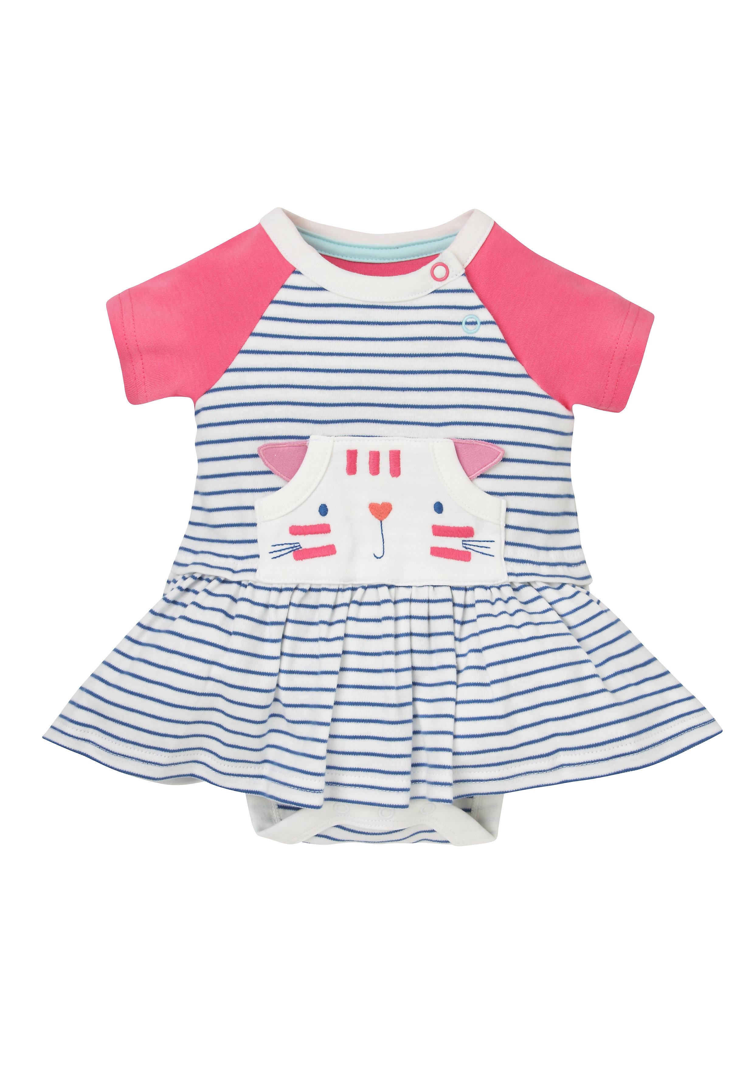Mothercare | Girls Striped Cat Romper Dress - Multicolor