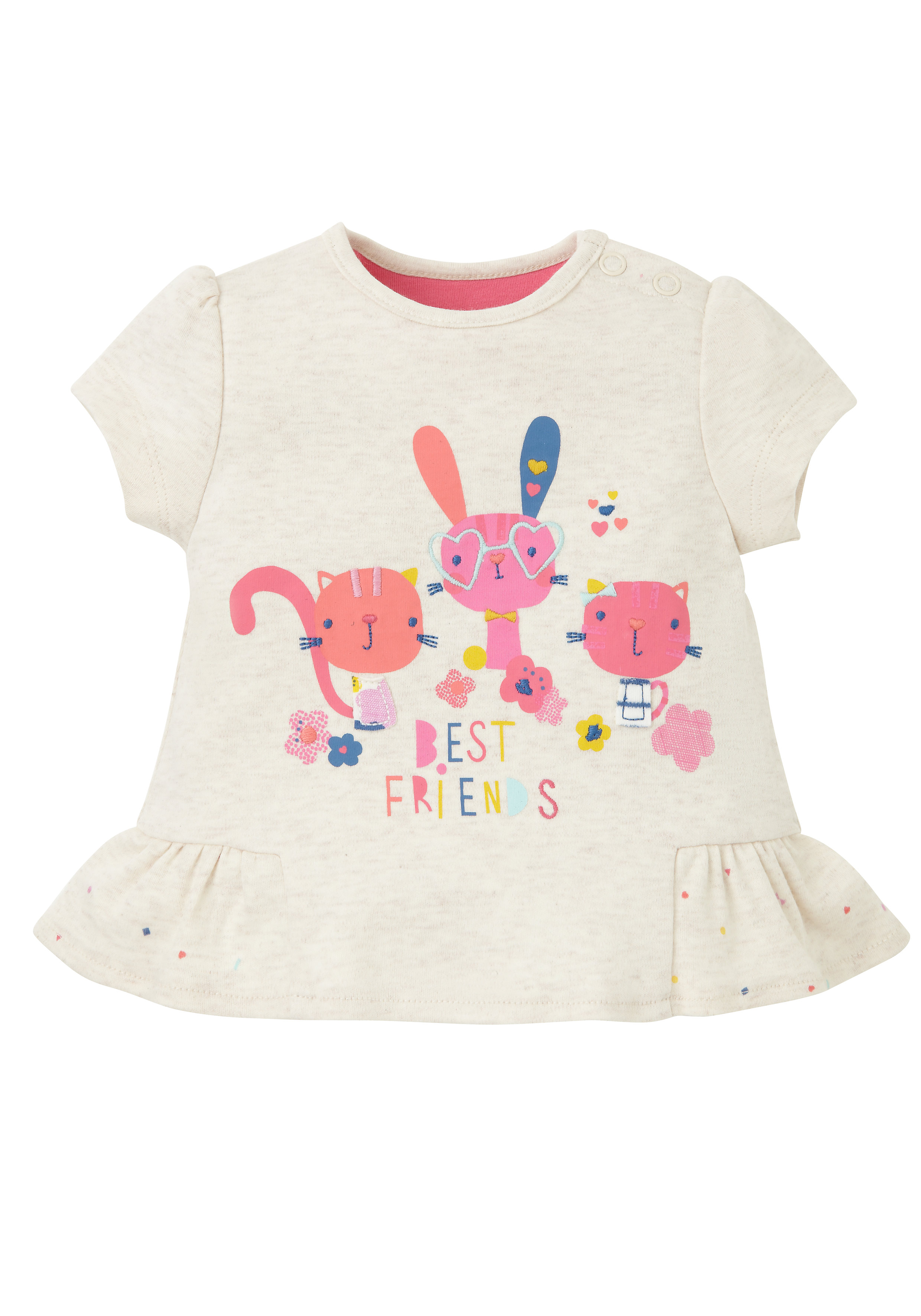 Mothercare | Girls Half Sleeves T-Shirt Embroidered - Beige