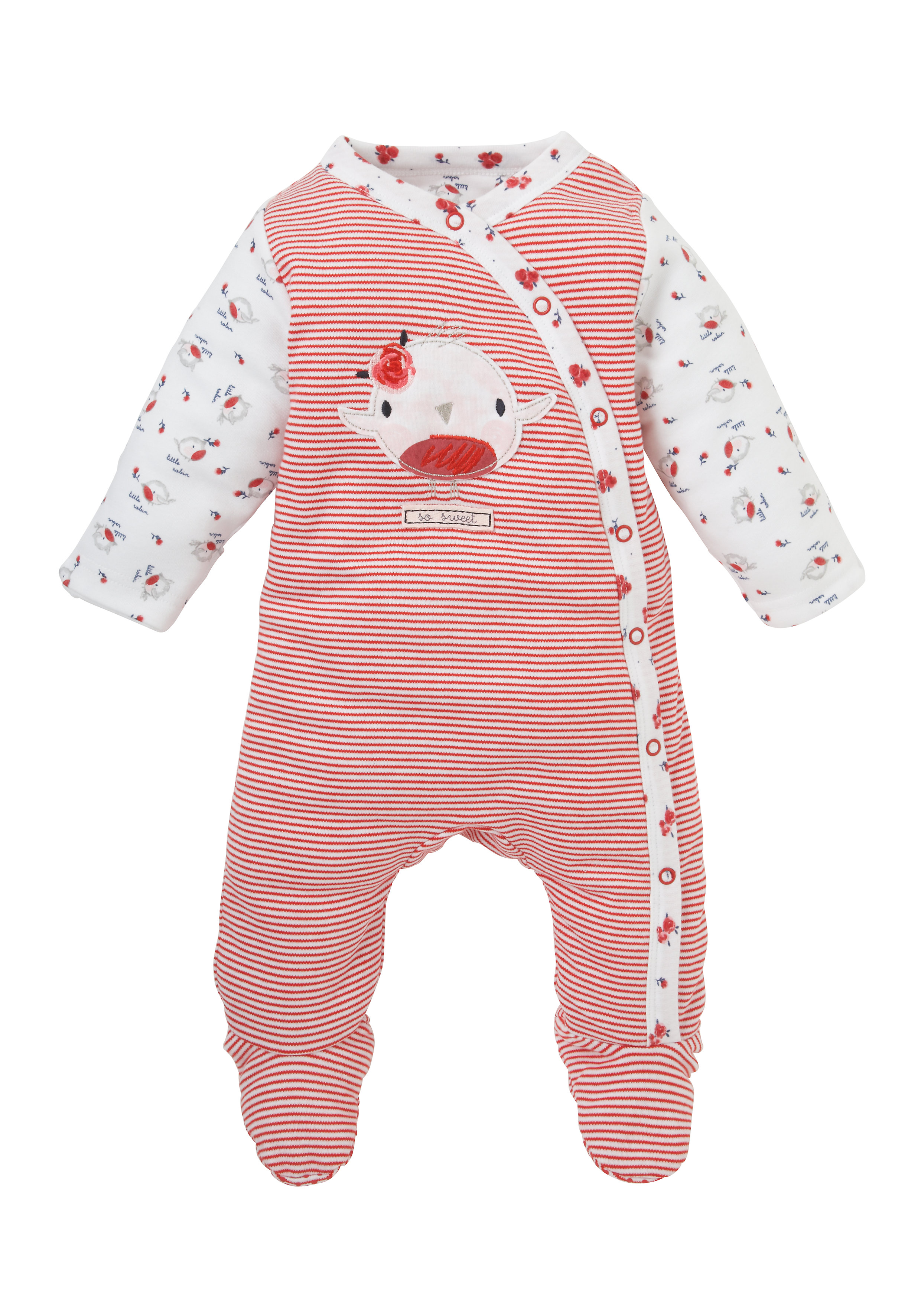 Mothercare | Girls Full Sleeves Snowsuit Bird Patchwork - Red