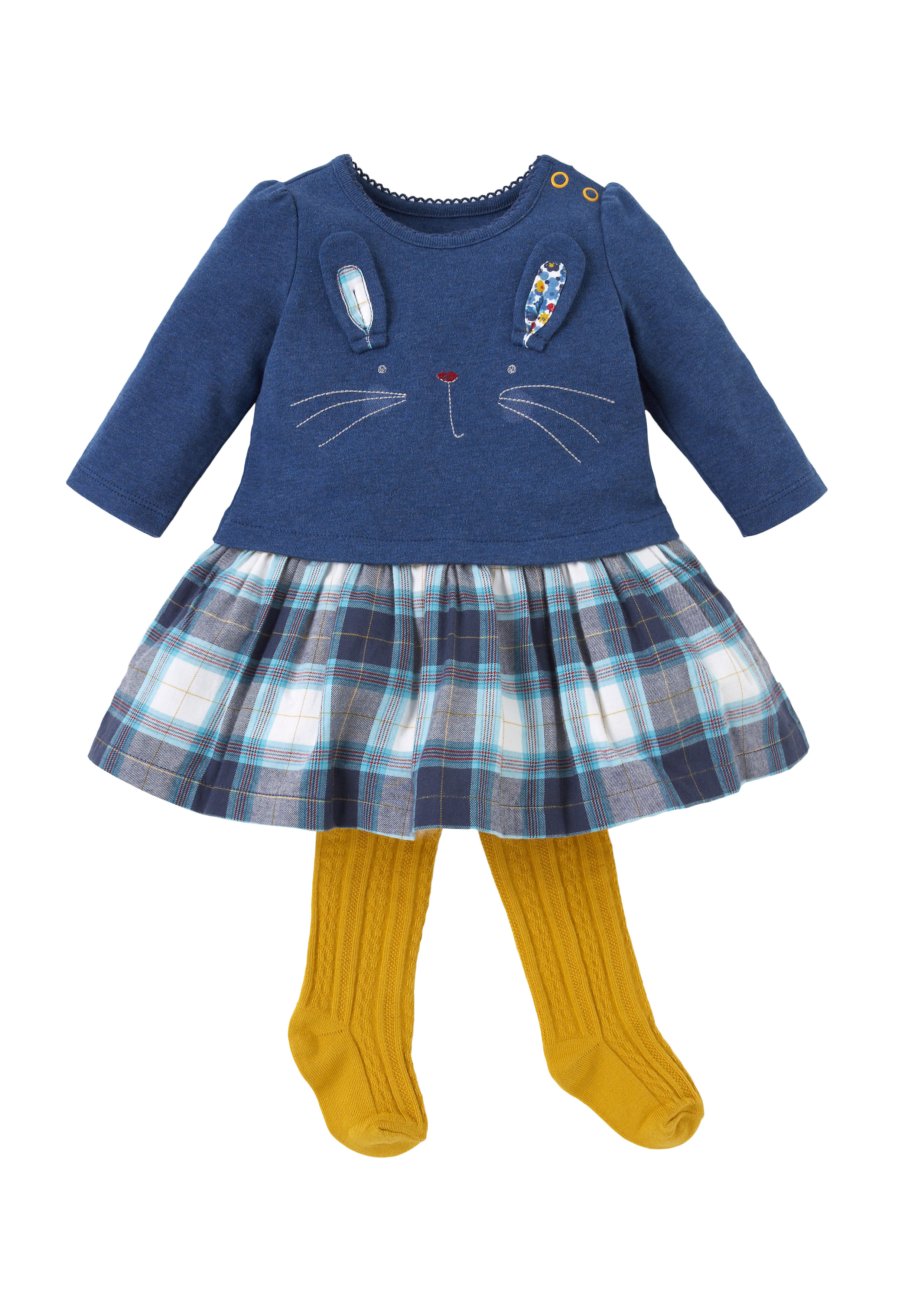 Mothercare | Girls Bunny Dress With Tights - Multicolor