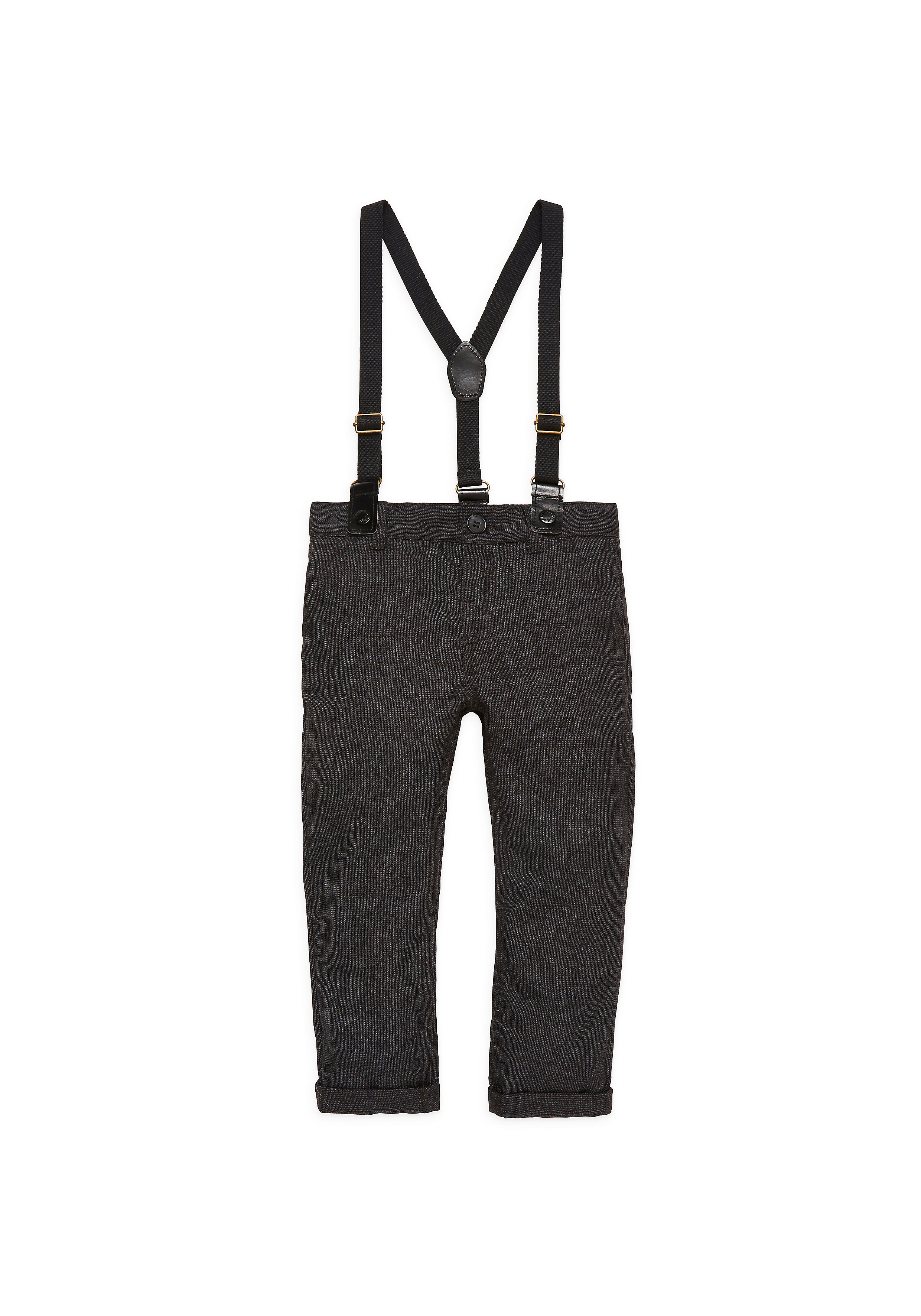Mothercare | Boys Dark  Tweed Trousers With Braces - Grey