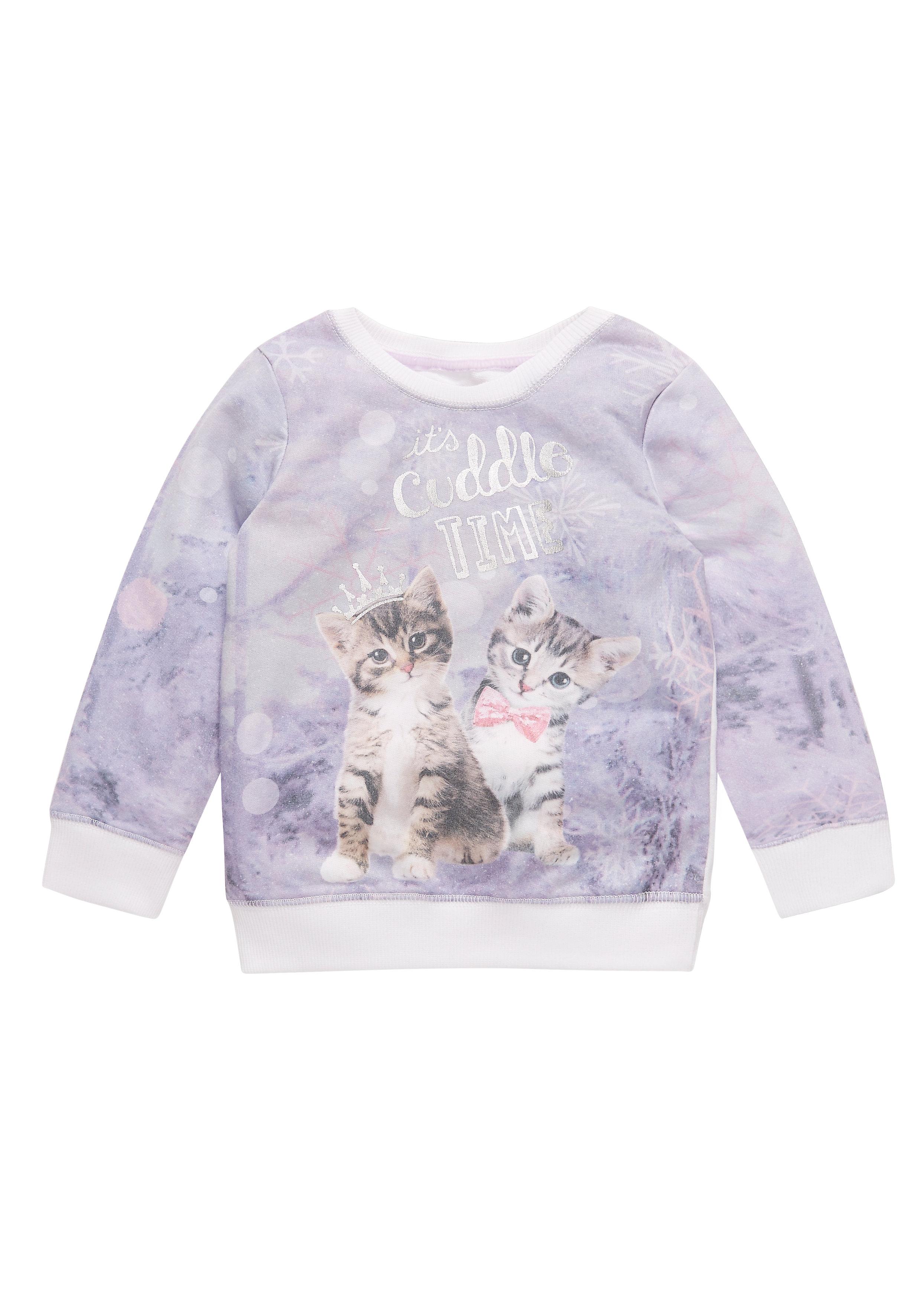 Mothercare | Girls Cat Sweat Top - Cream