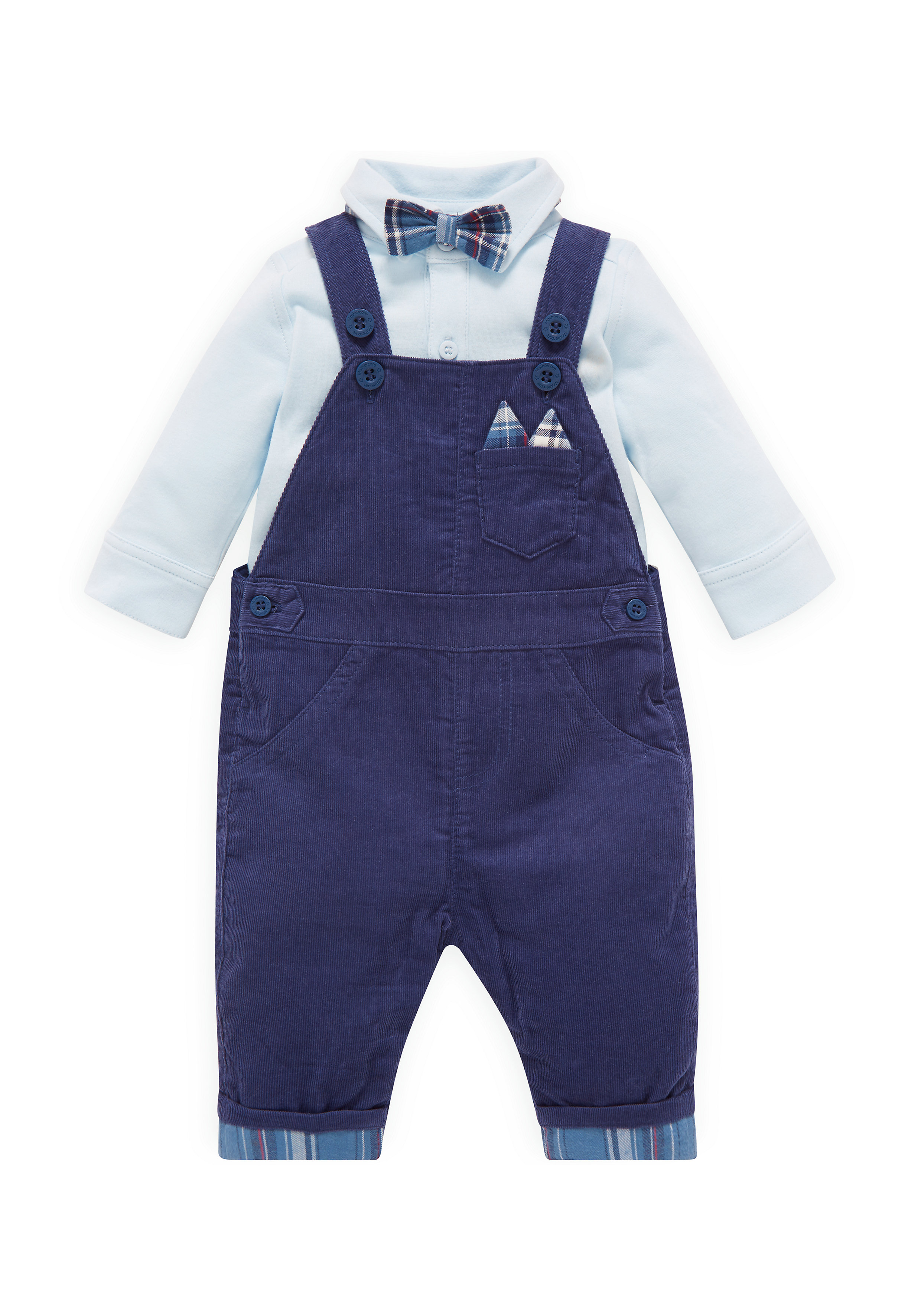 Mothercare | Boys Full Sleeves Cord Dungaree Set With Bow Tie - Navy