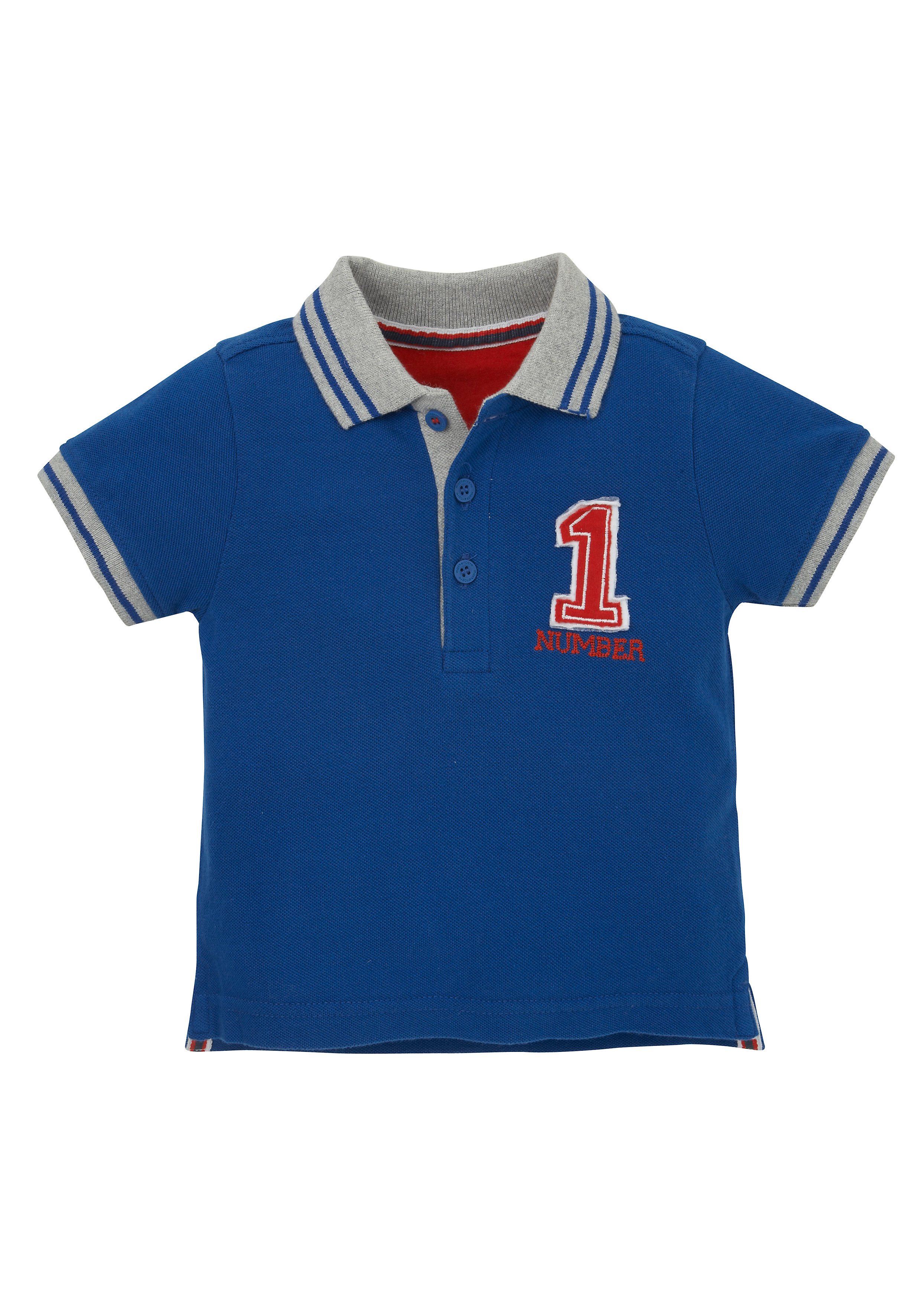 Mothercare | Boys Half Sleeves Polo T-Shirt Embroidered - Blue
