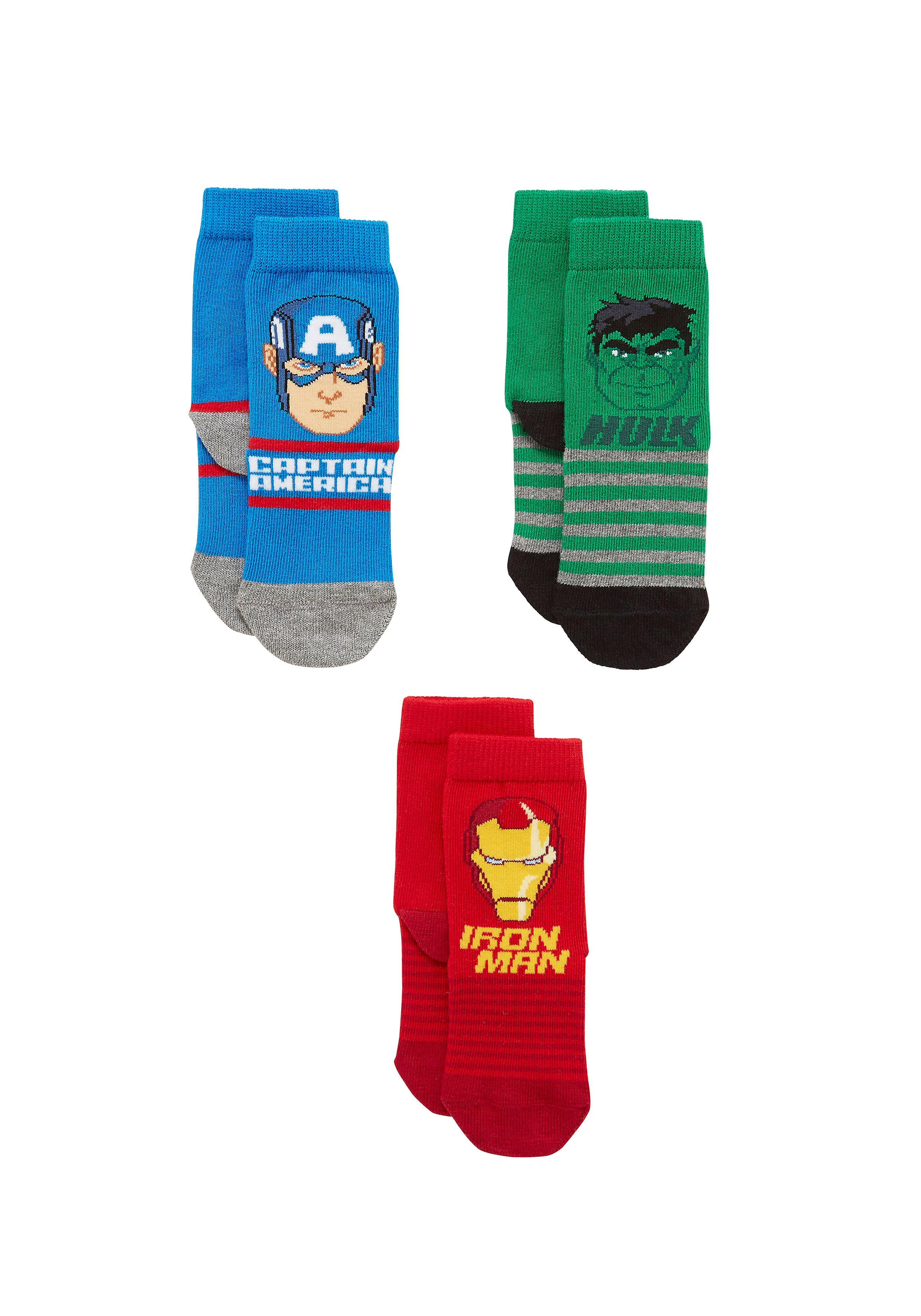 Mothercare | Boys Socks Avengers Design - Pack Of 3 - Multicolor