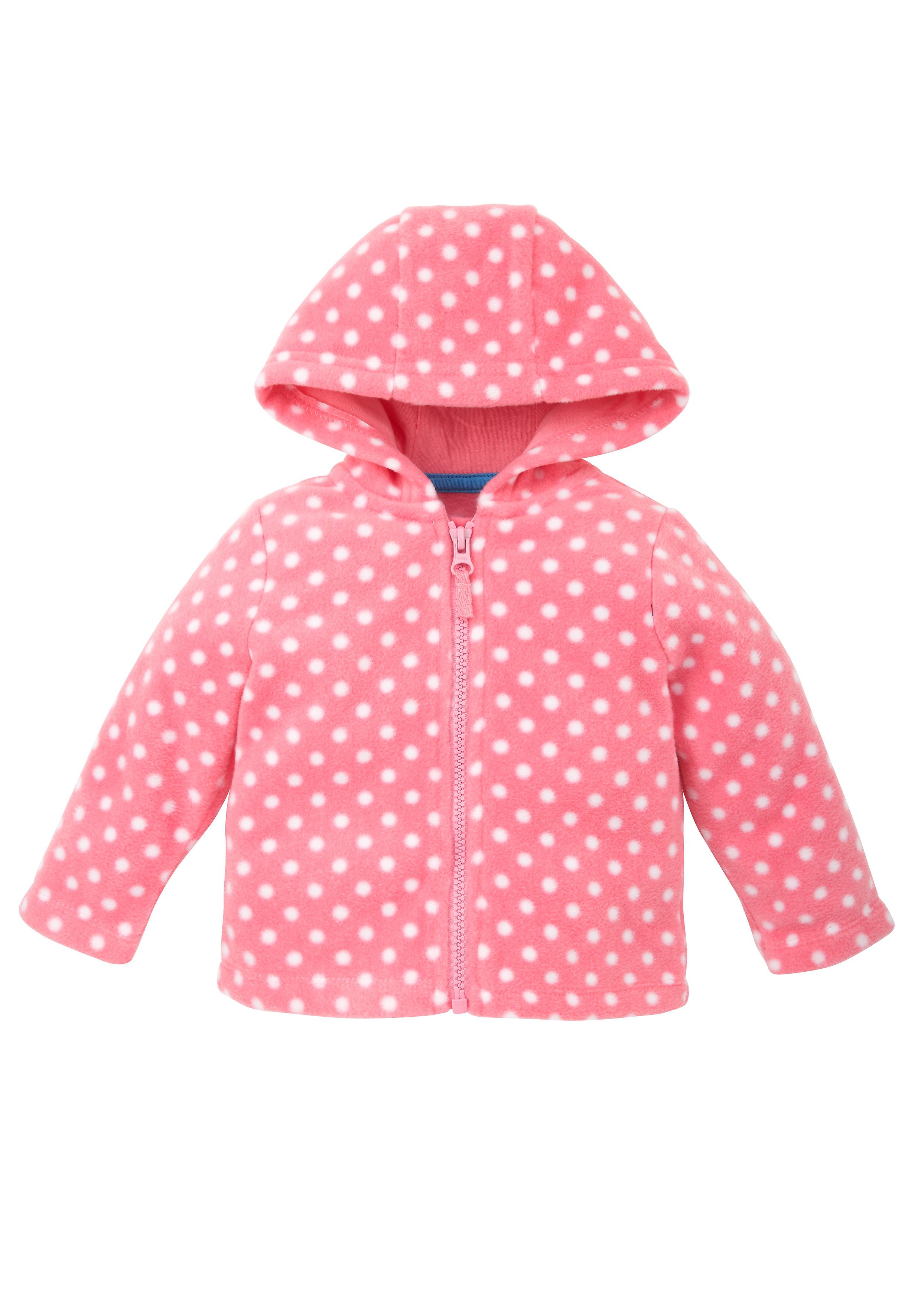 Mothercare | Girls Zip Through Spotty Fleece Hoodie - Pink