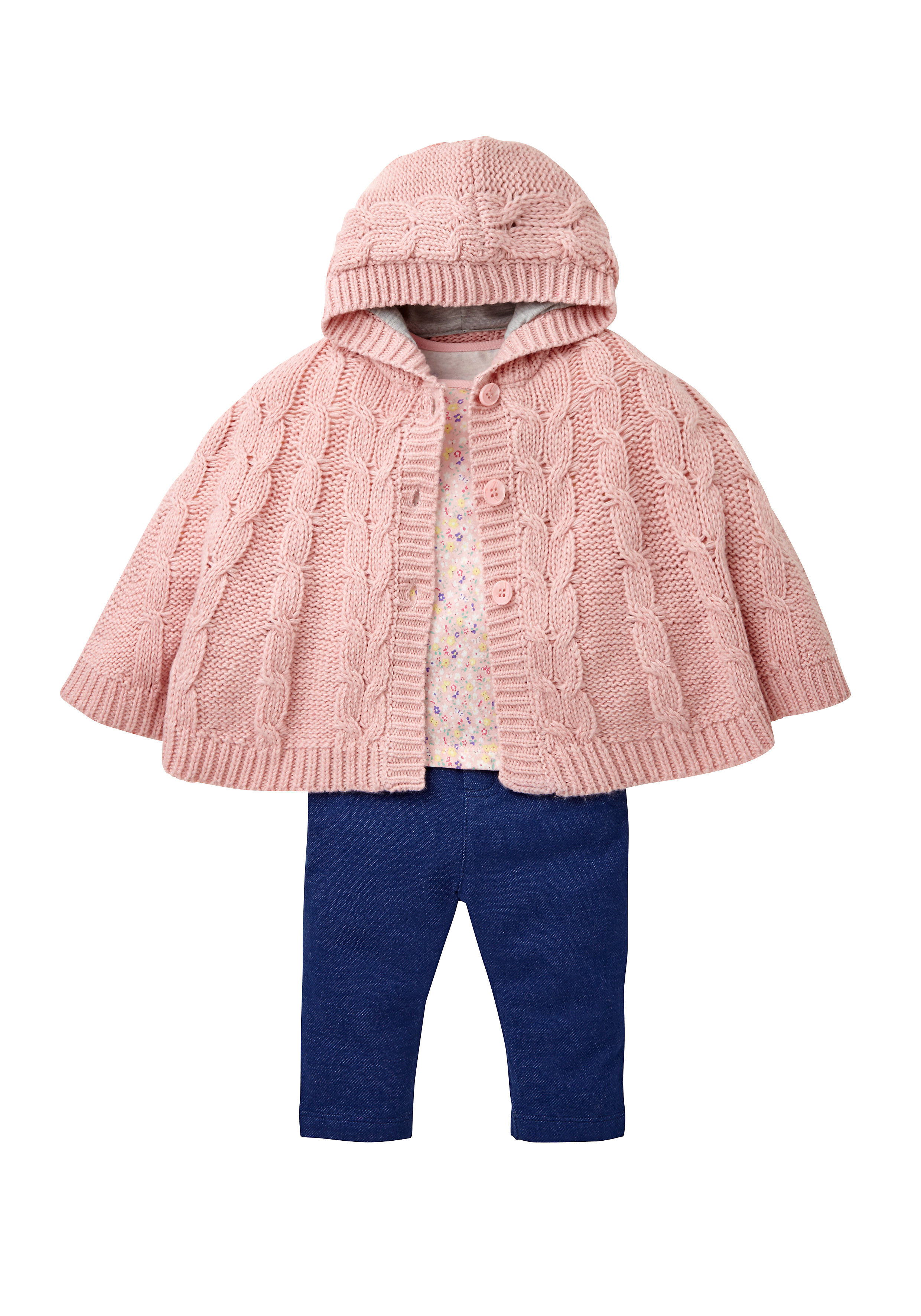 Mothercare | Girls Jeggings, Floral Top And Knitted Cape Set - Multicolor