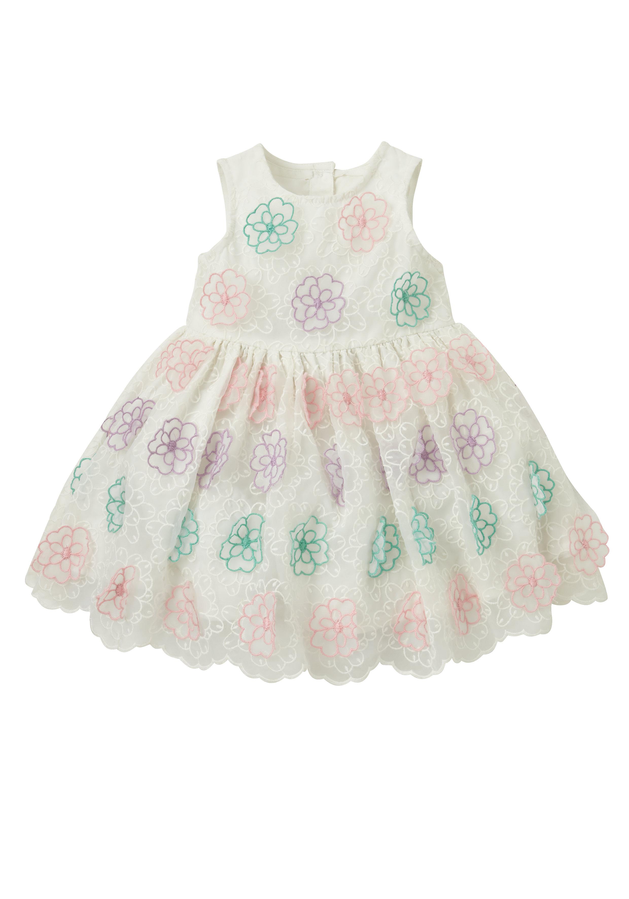 Mothercare | Girls Sleeveless Dress Flower Embroidery - Cream