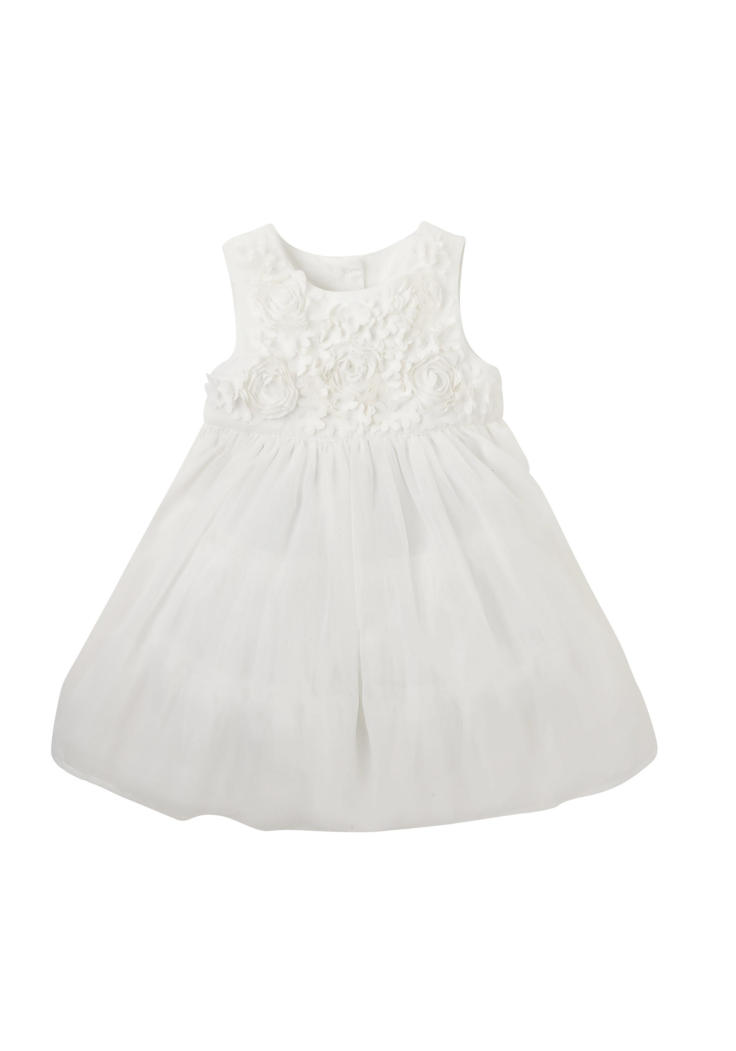 Mothercare | Girls Full Sleeves Dress Flower Design - White