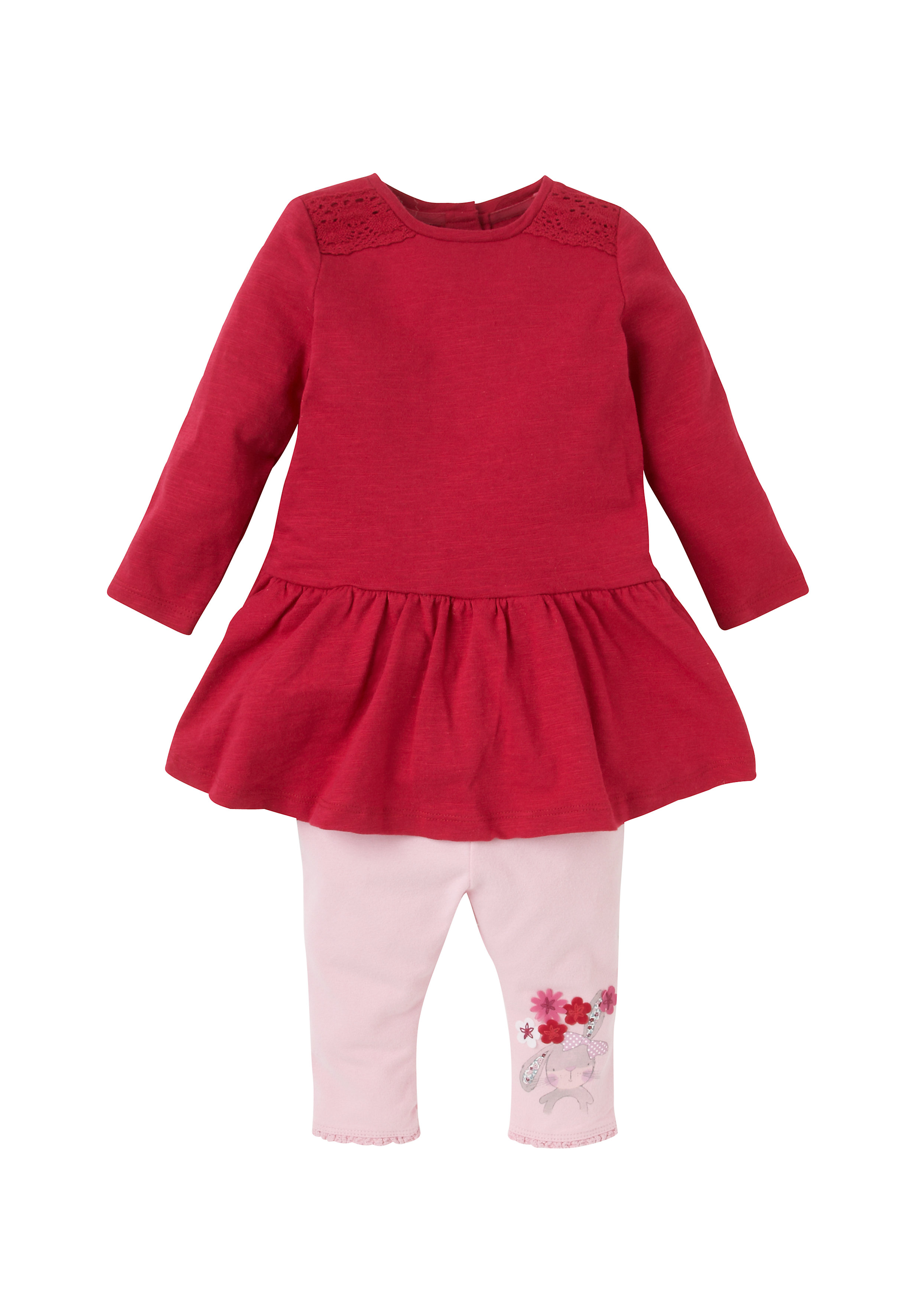 Mothercare   Girls Blouse And Leggings Set - Pink
