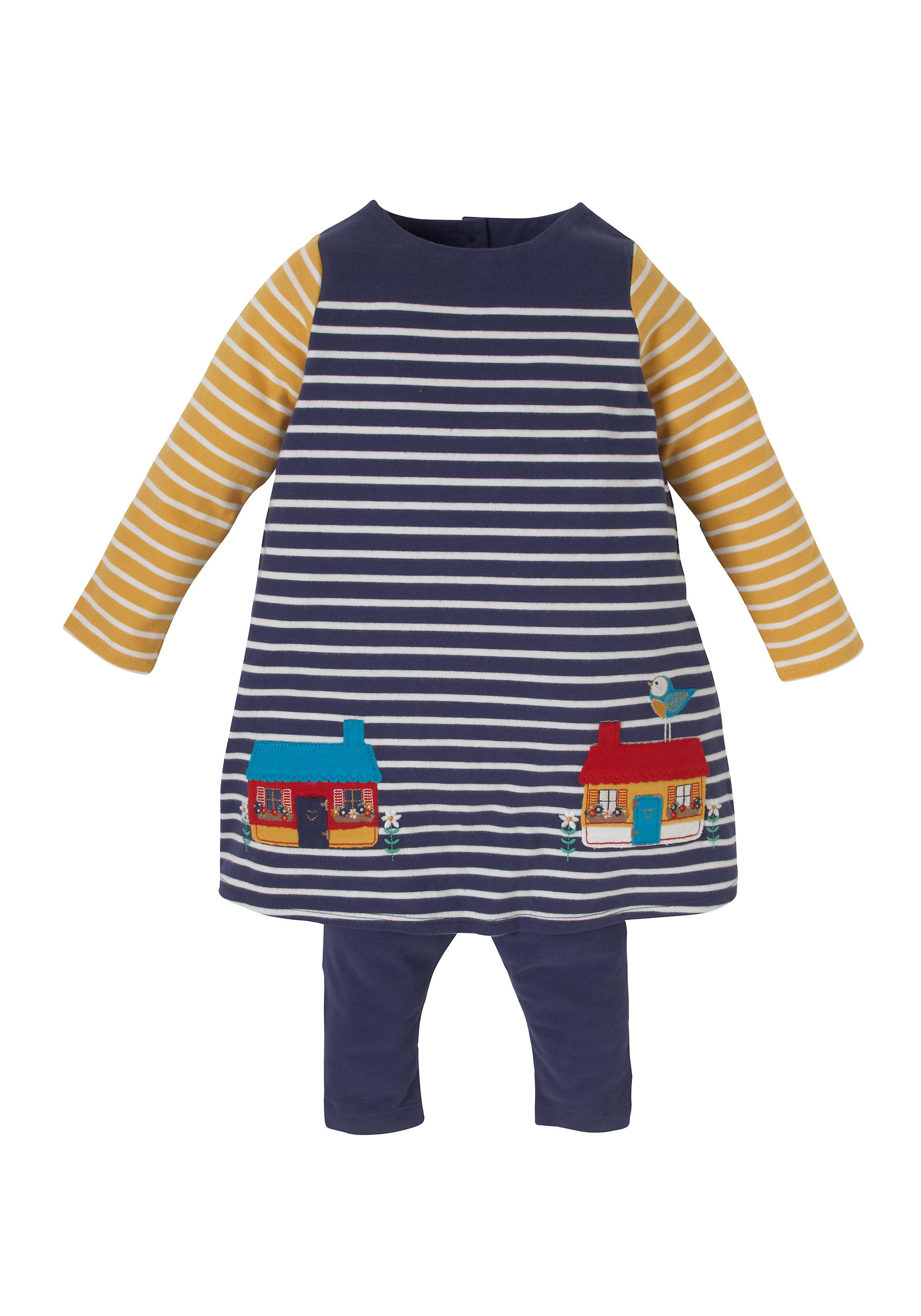 Mothercare | Girls Multi Striped Dress And Leggings - Navy