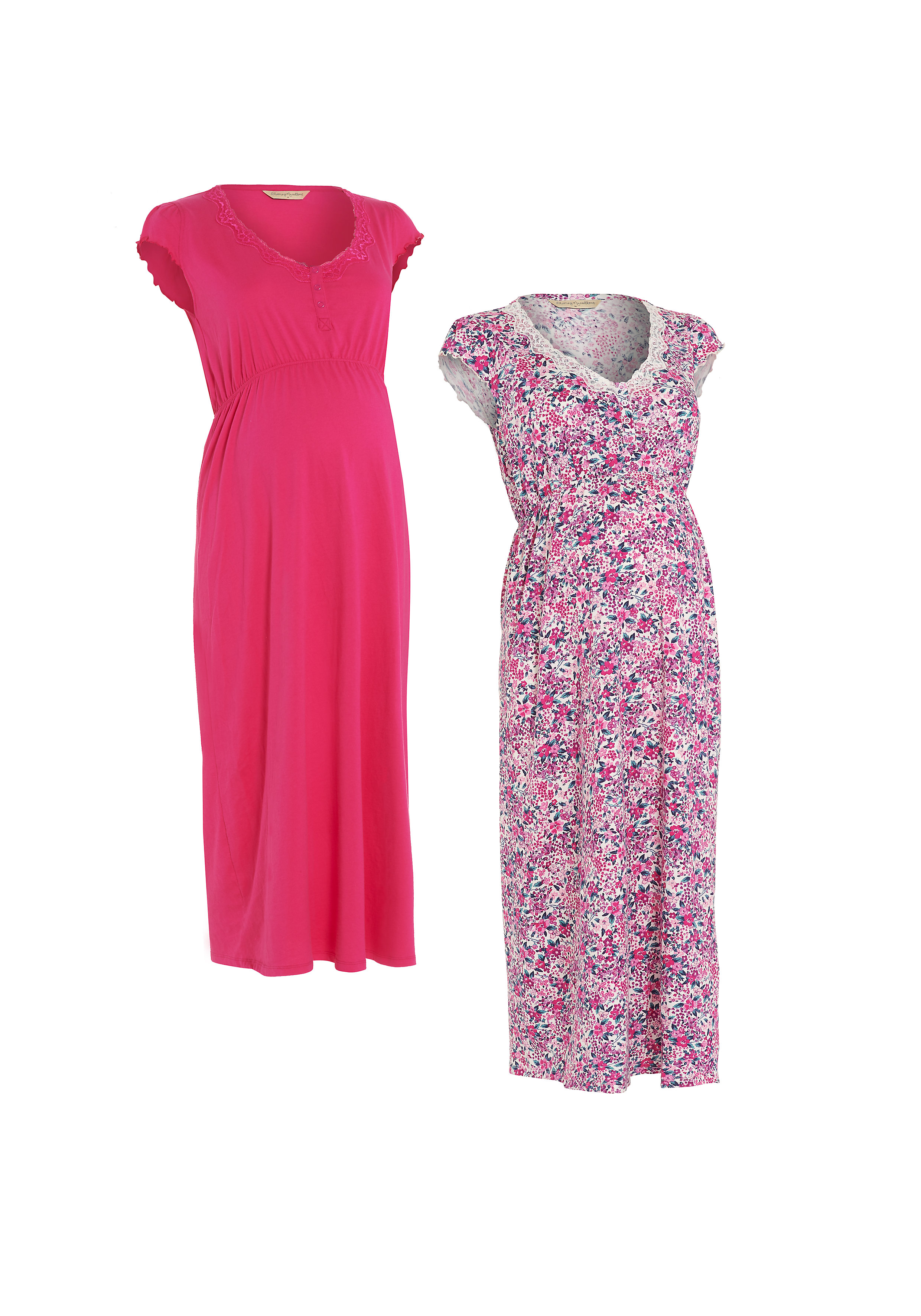 Mothercare | Women Half Sleeves Maternity Nightdress Floral Print - Pack Of 2 - Multicolor