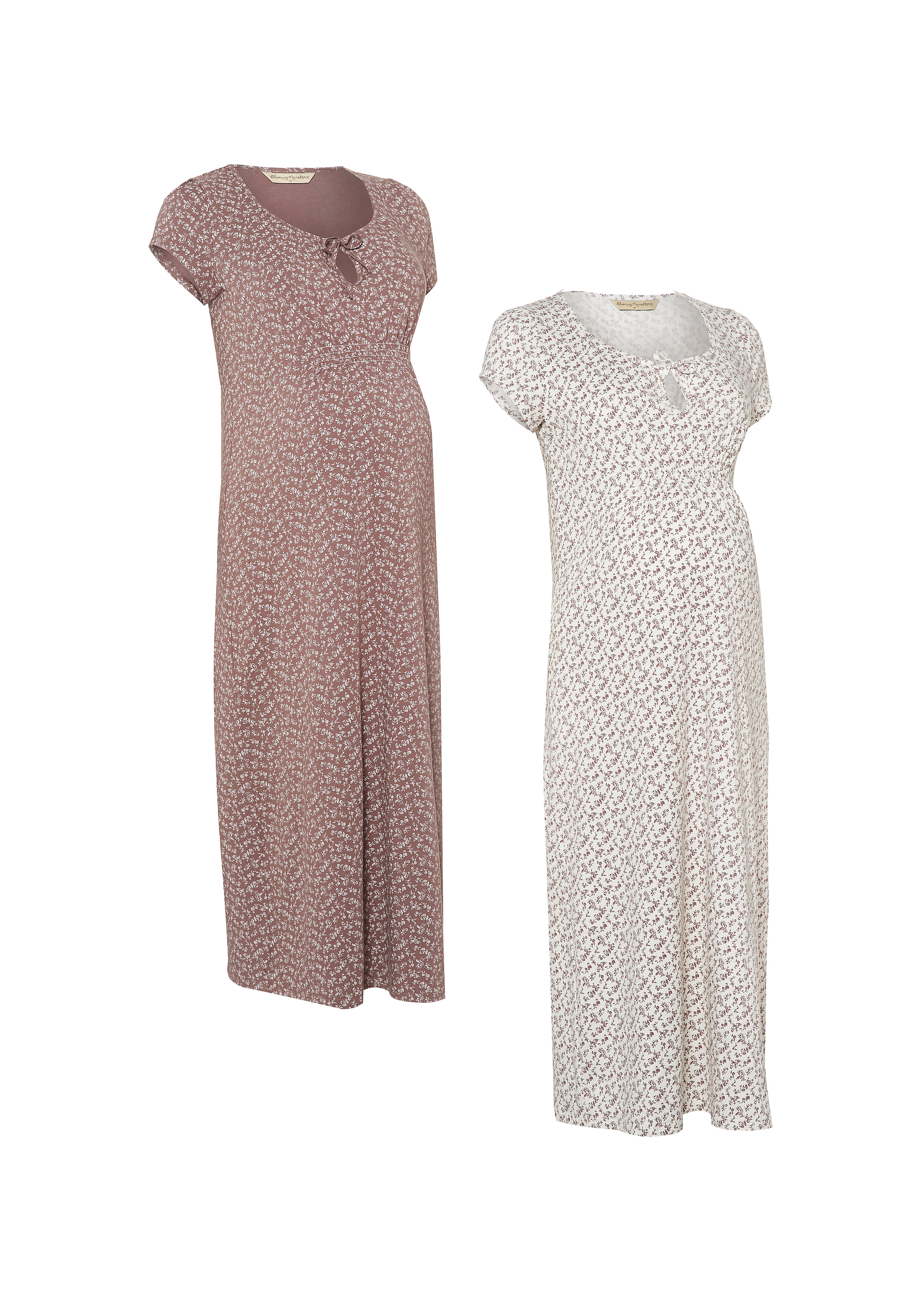 Mothercare   Women Half Sleeves Maternity Nightdress Floral Print - Pack Of 2 - Multicolor