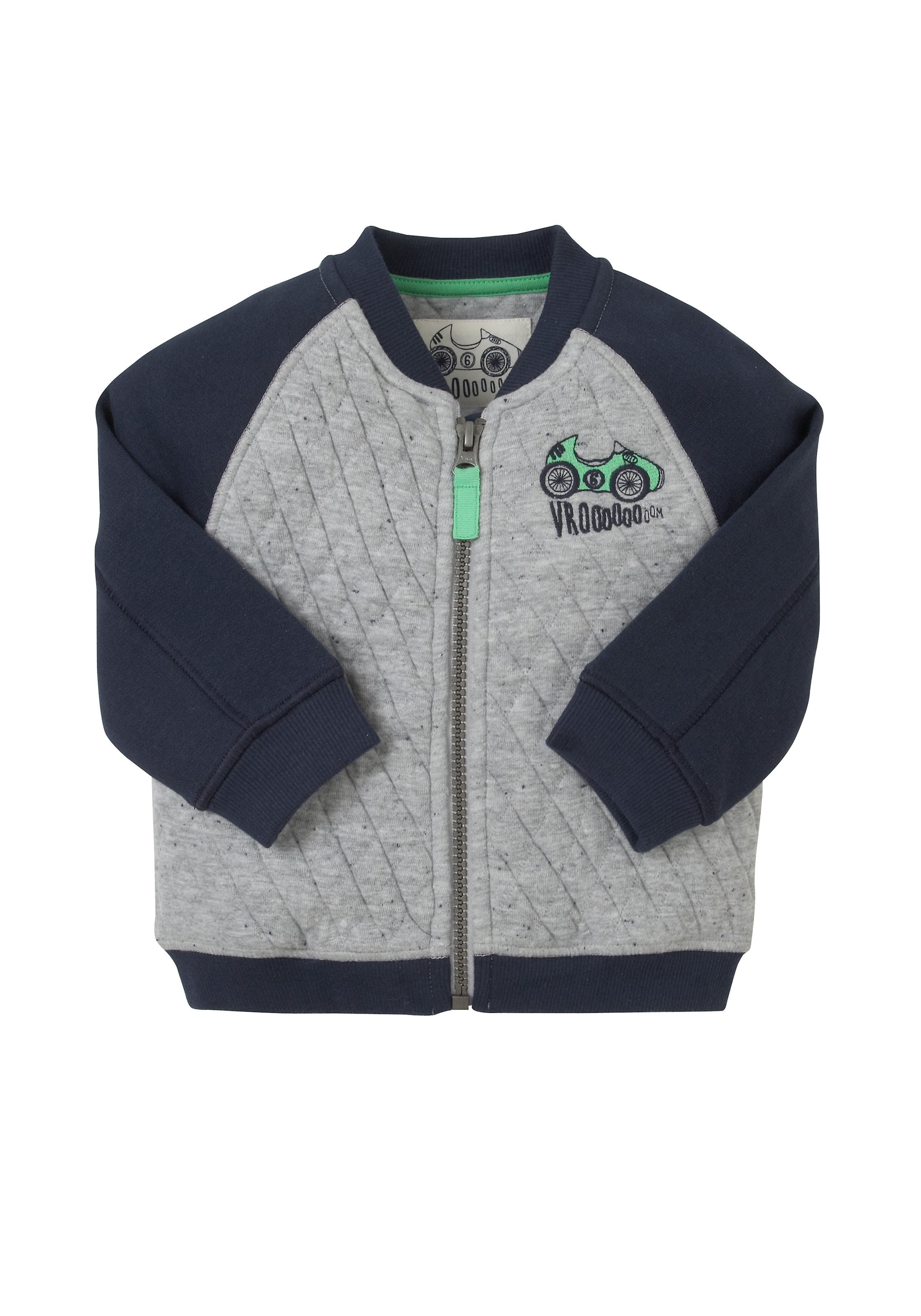 Mothercare | Boys Full Sleeves Quilted Sweatshirt Zip Opening - Grey