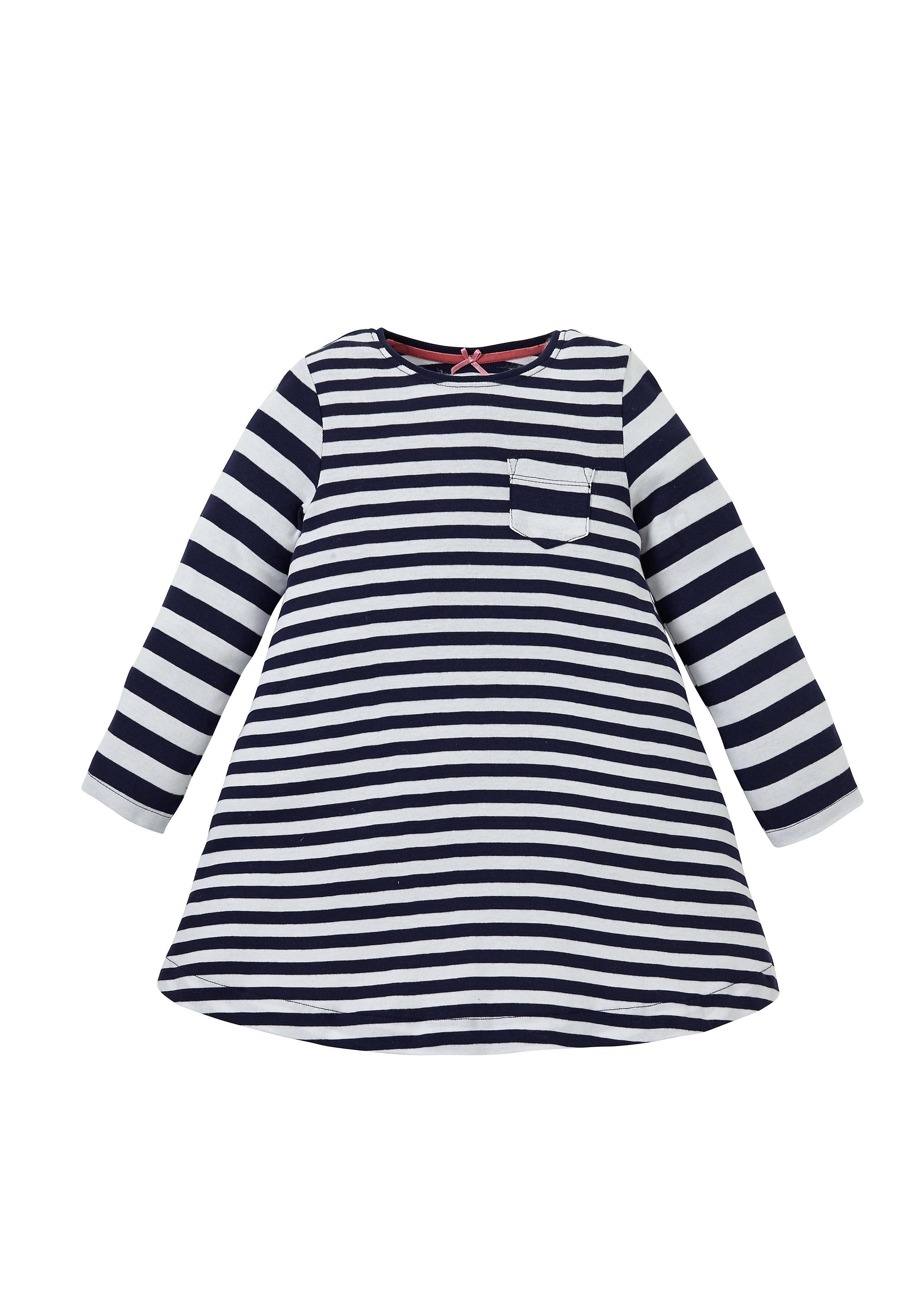 Mothercare | Girls Full Sleeves Dress Striped - Black