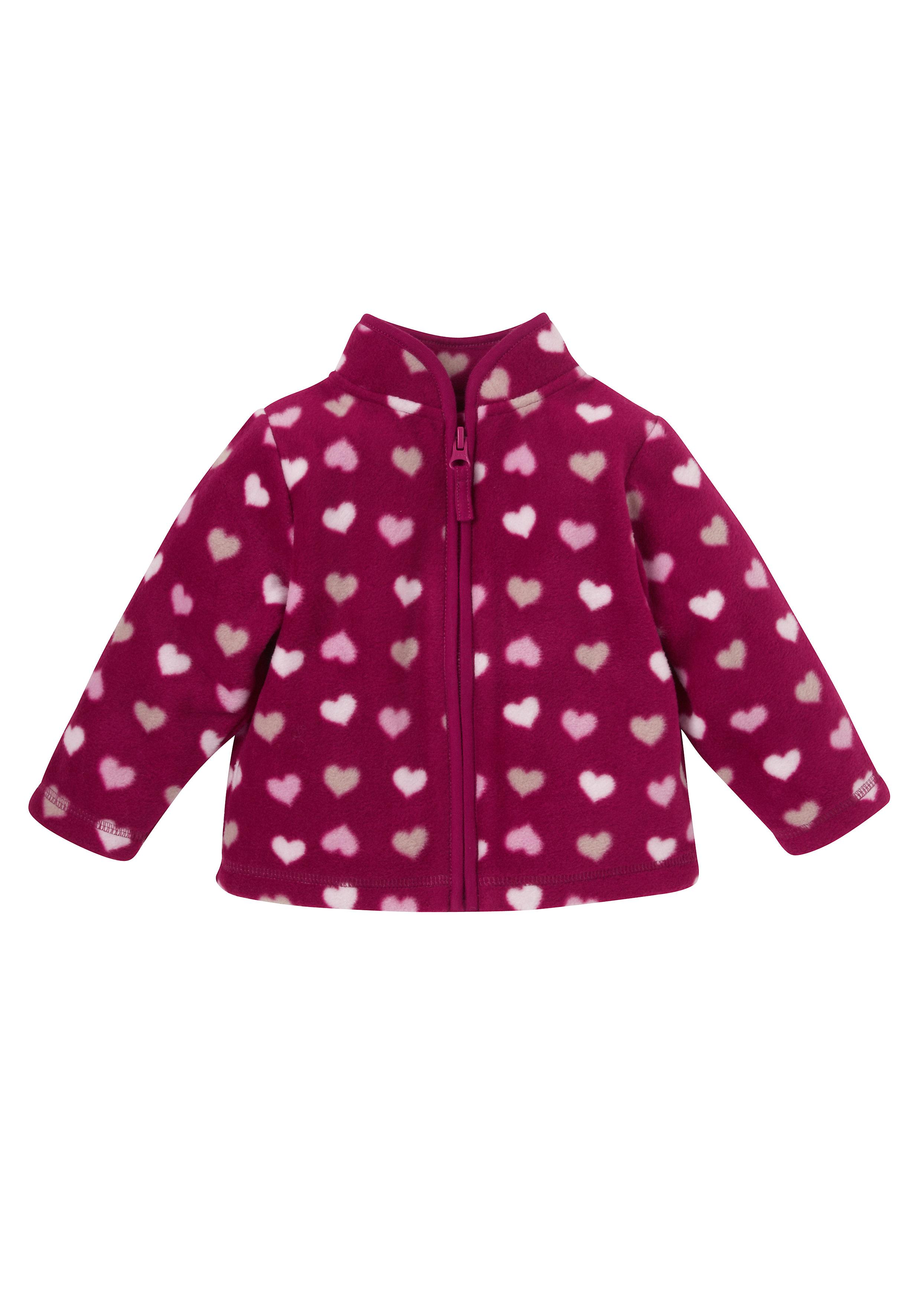 Mothercare | Girls Full Sleeves Fleece Jacket Heart Design - Pink