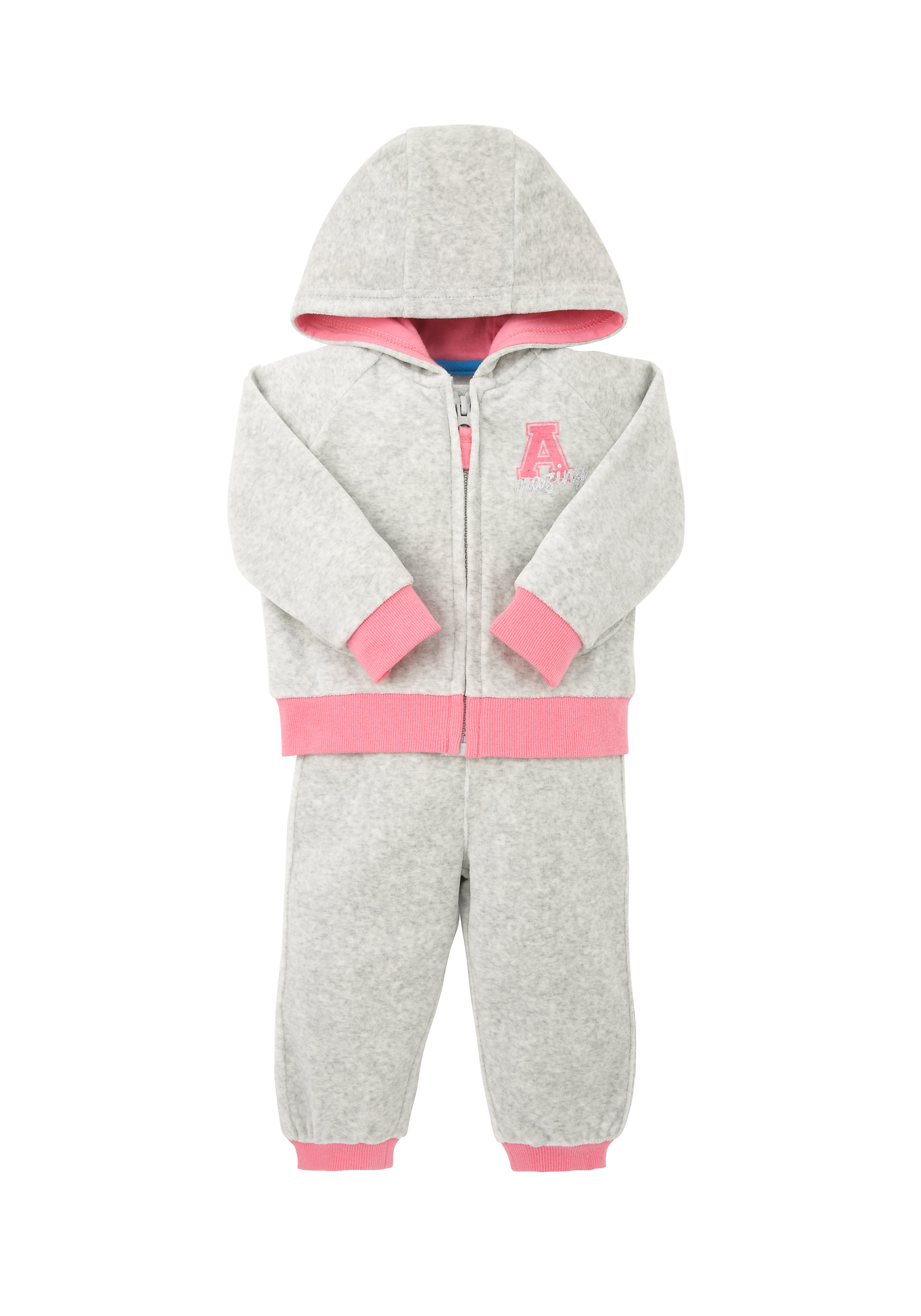 Mothercare | Girls Full Sleeves Velour Top And Jogger Set Glitter Print - Grey