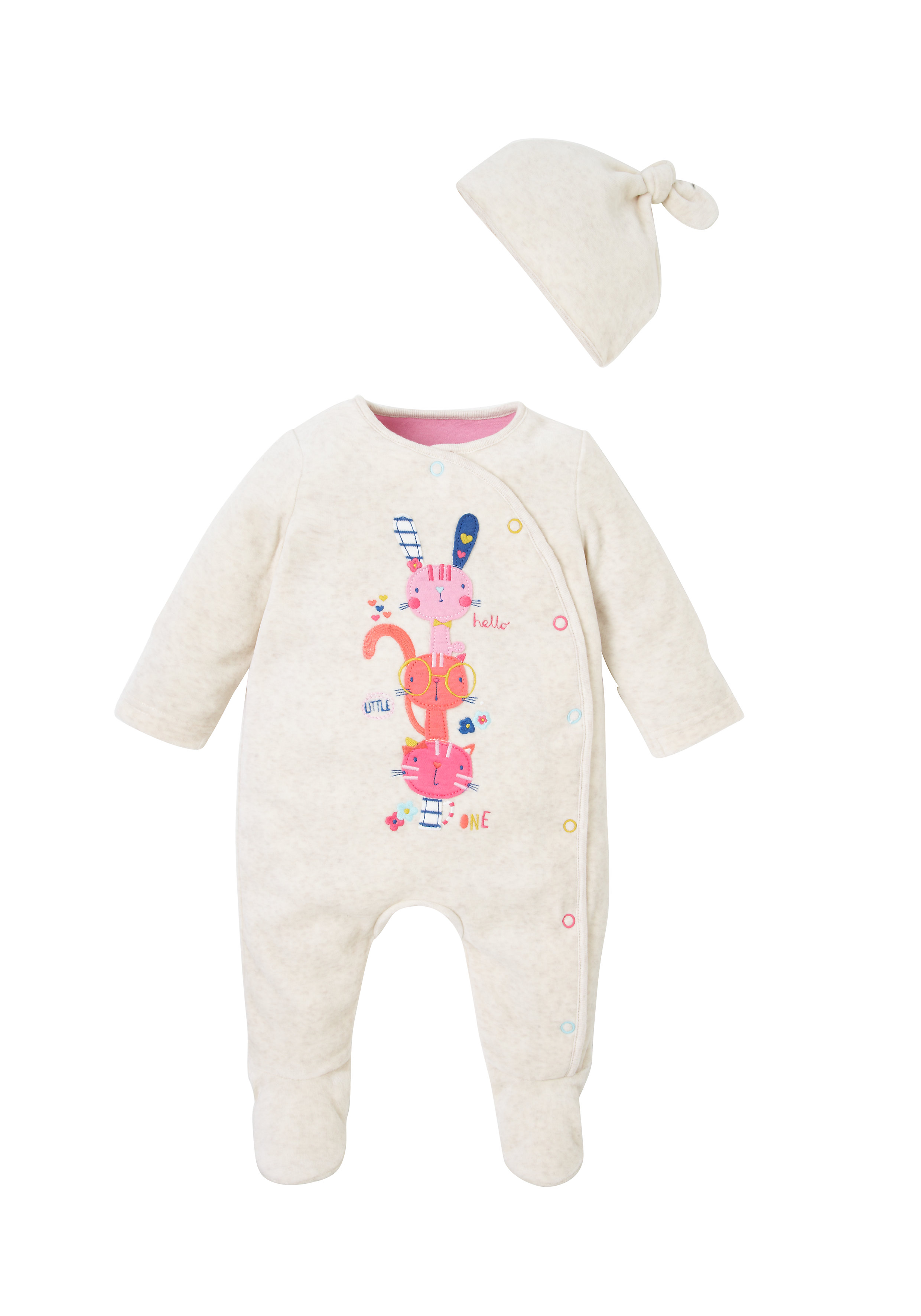 Mothercare | Girls Full Sleeves Sleepsuits With Beanie - Pink