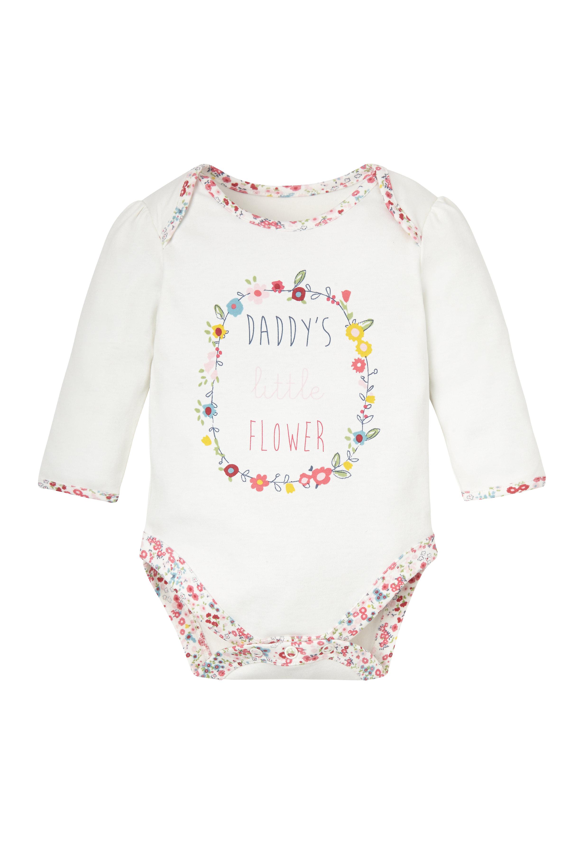 Mothercare | Girls Full Sleeves Bodysuit Slogan Print - White