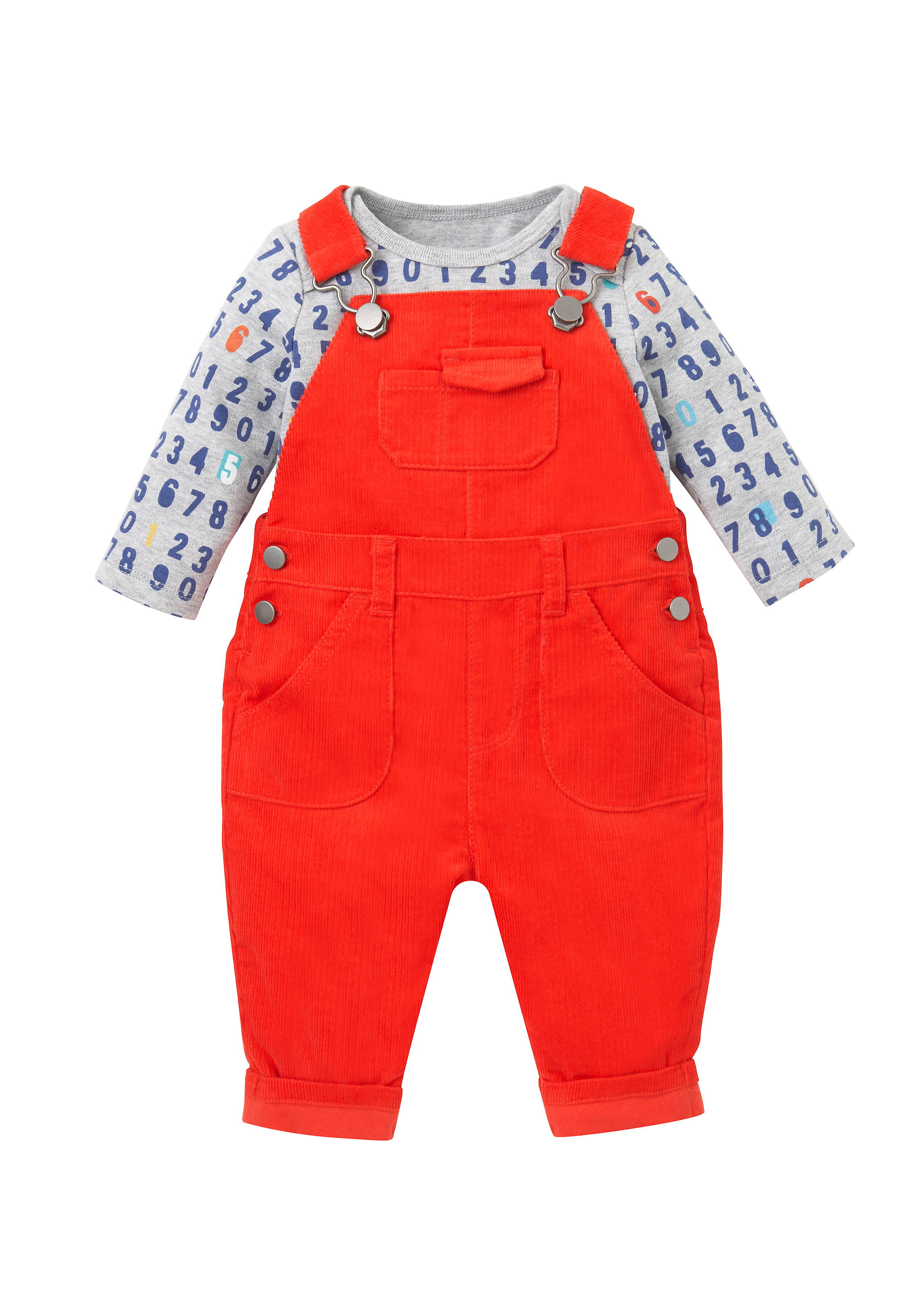 Mothercare | Boys Full Sleeves Cord Dungaree Set Number Print - Red
