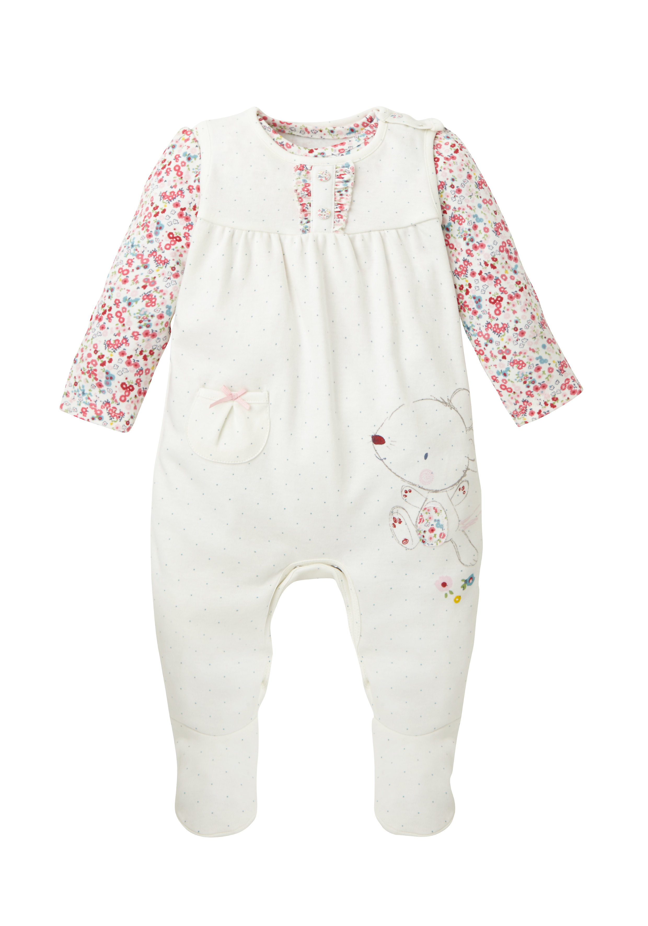 Mothercare | Girls Full Sleeves Dungaree Set Floral Print - White