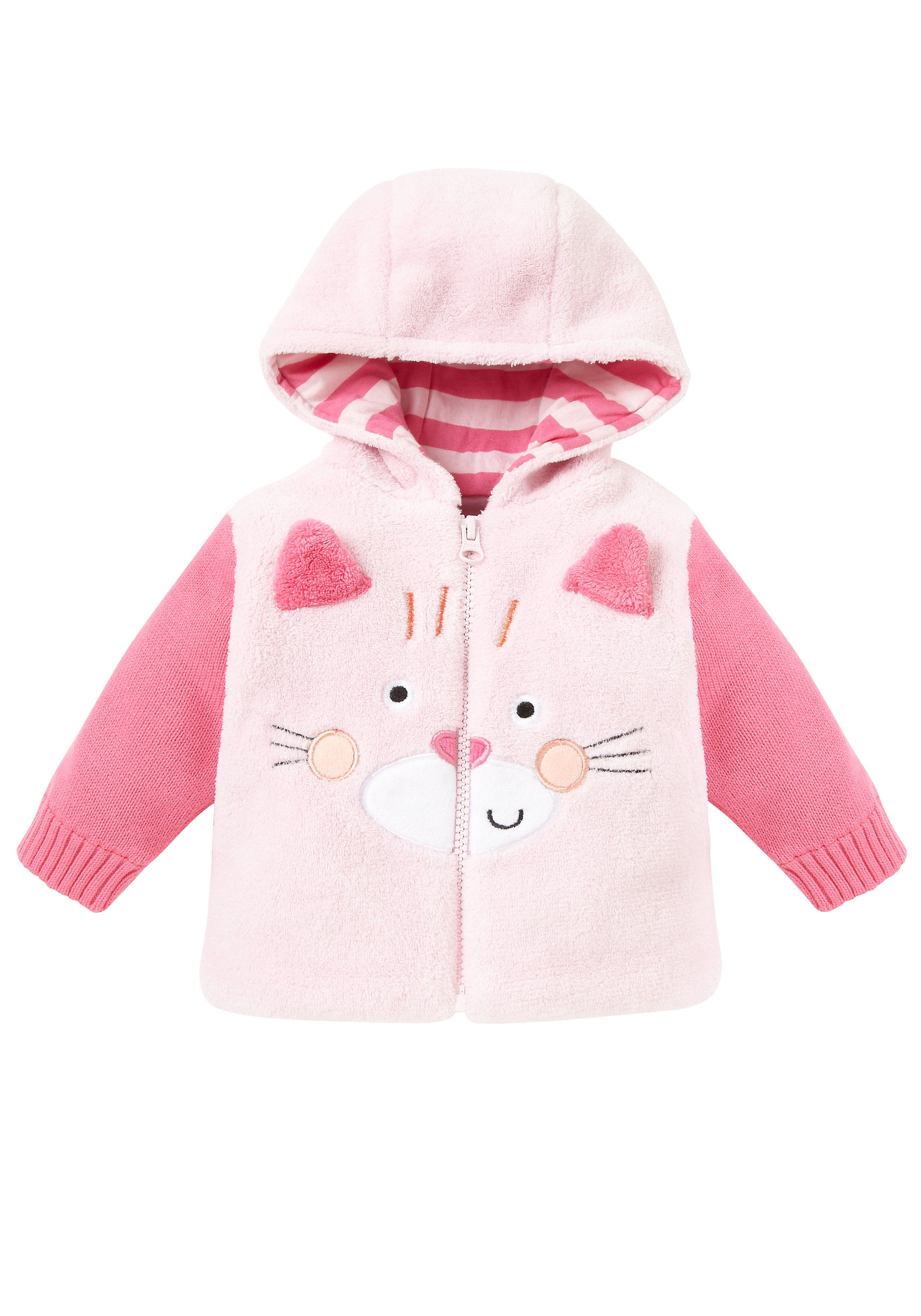Mothercare | Girls Full Sleeves Jackets Hooded Fluffy - Pink