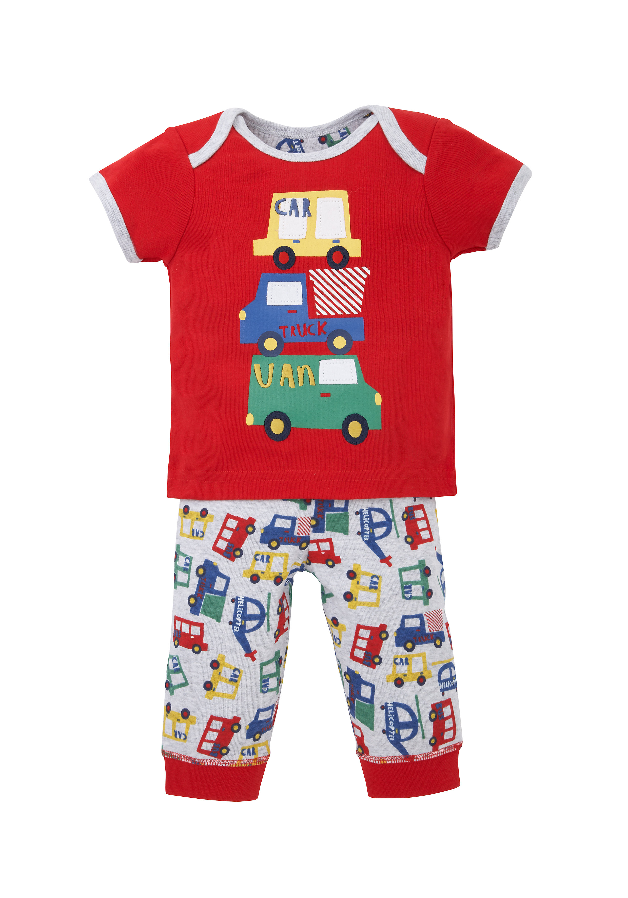 Mothercare   Boys Half Sleeves Pyjama Set Vehicle Patchwork - Red