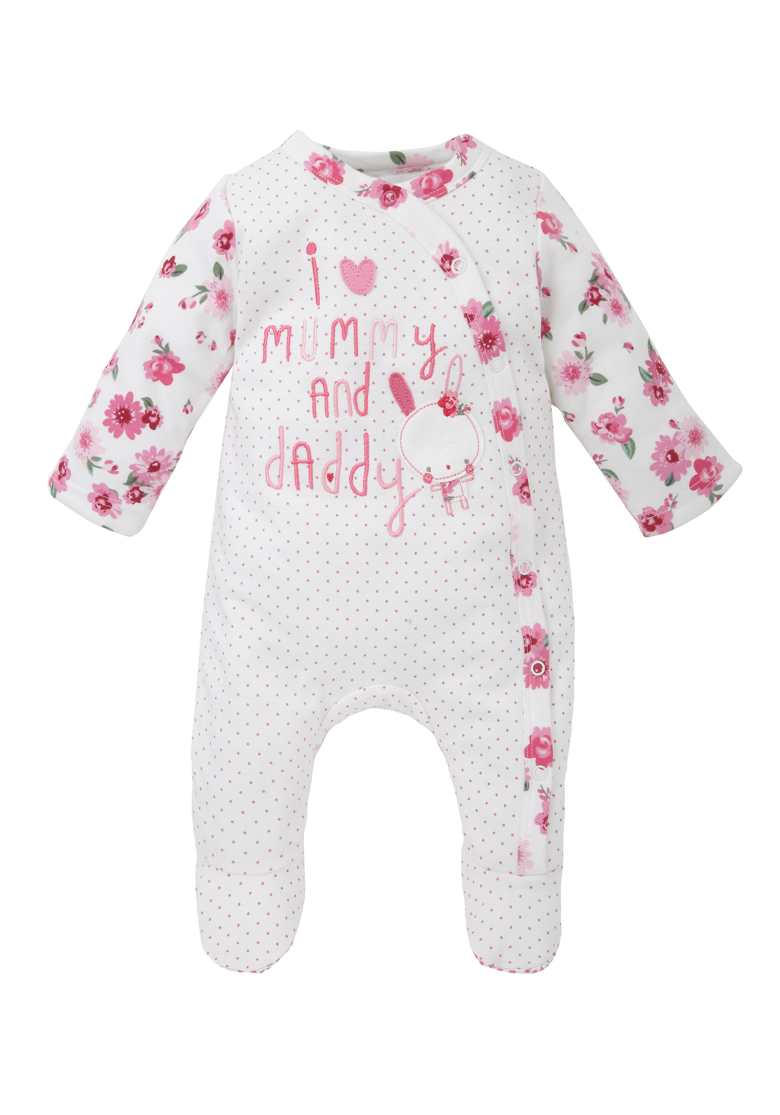 Mothercare | Girls Mummy And Daddy Wadded Romper - White