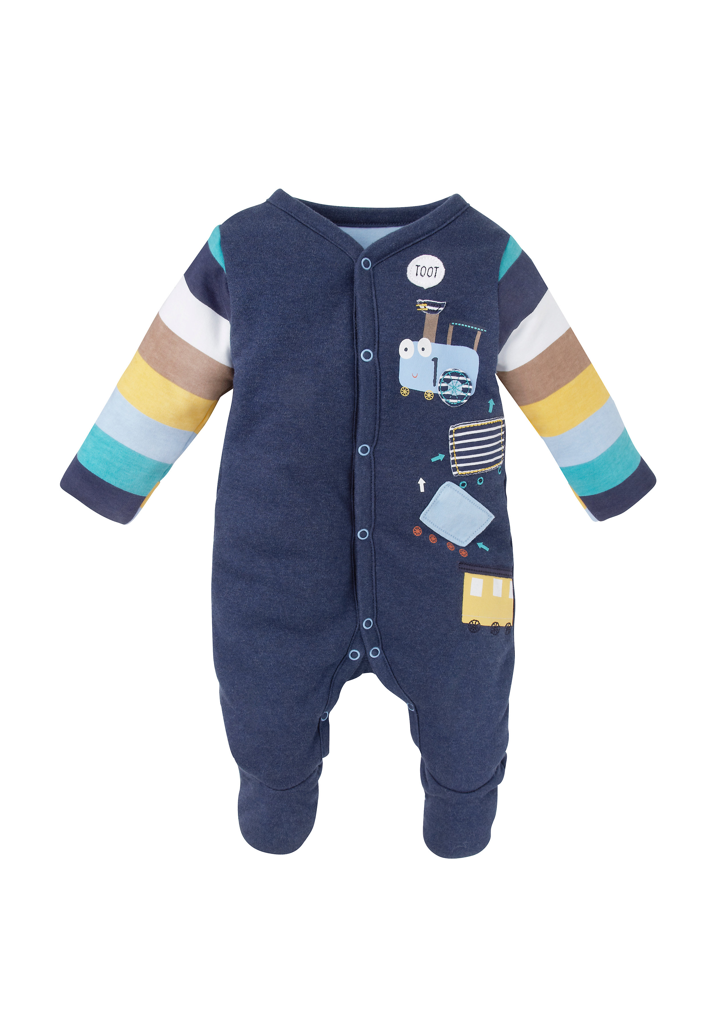 Mothercare   Boys Train Wadded Romper - Navy