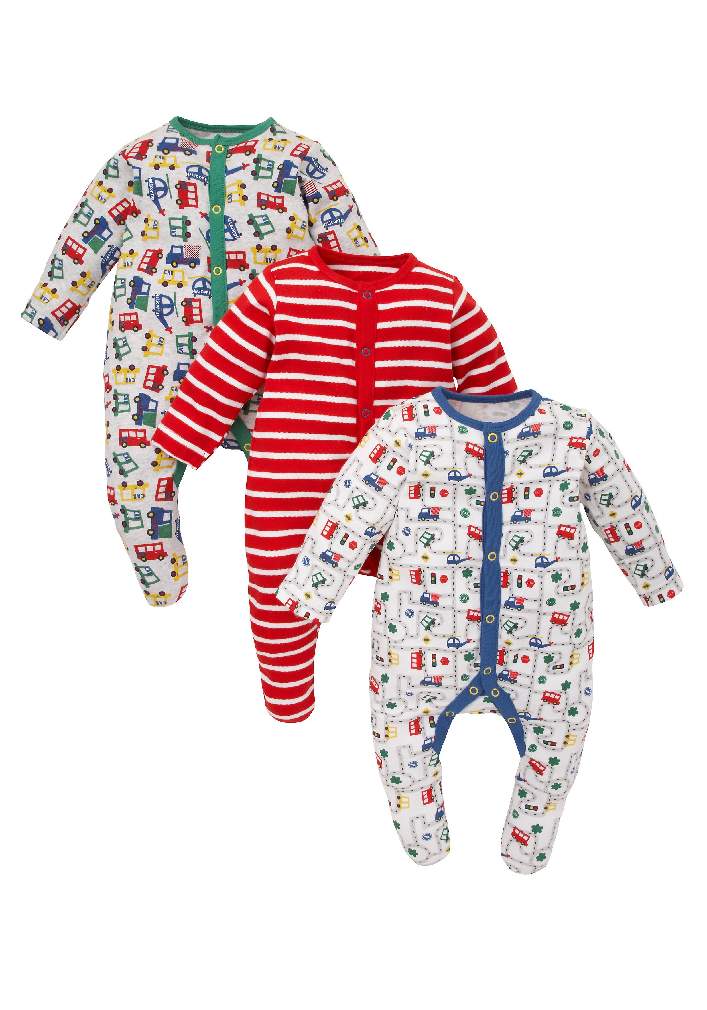 Mothercare | Boys Full Sleeves Sleepsuits - Pack of 3 - Multicolor