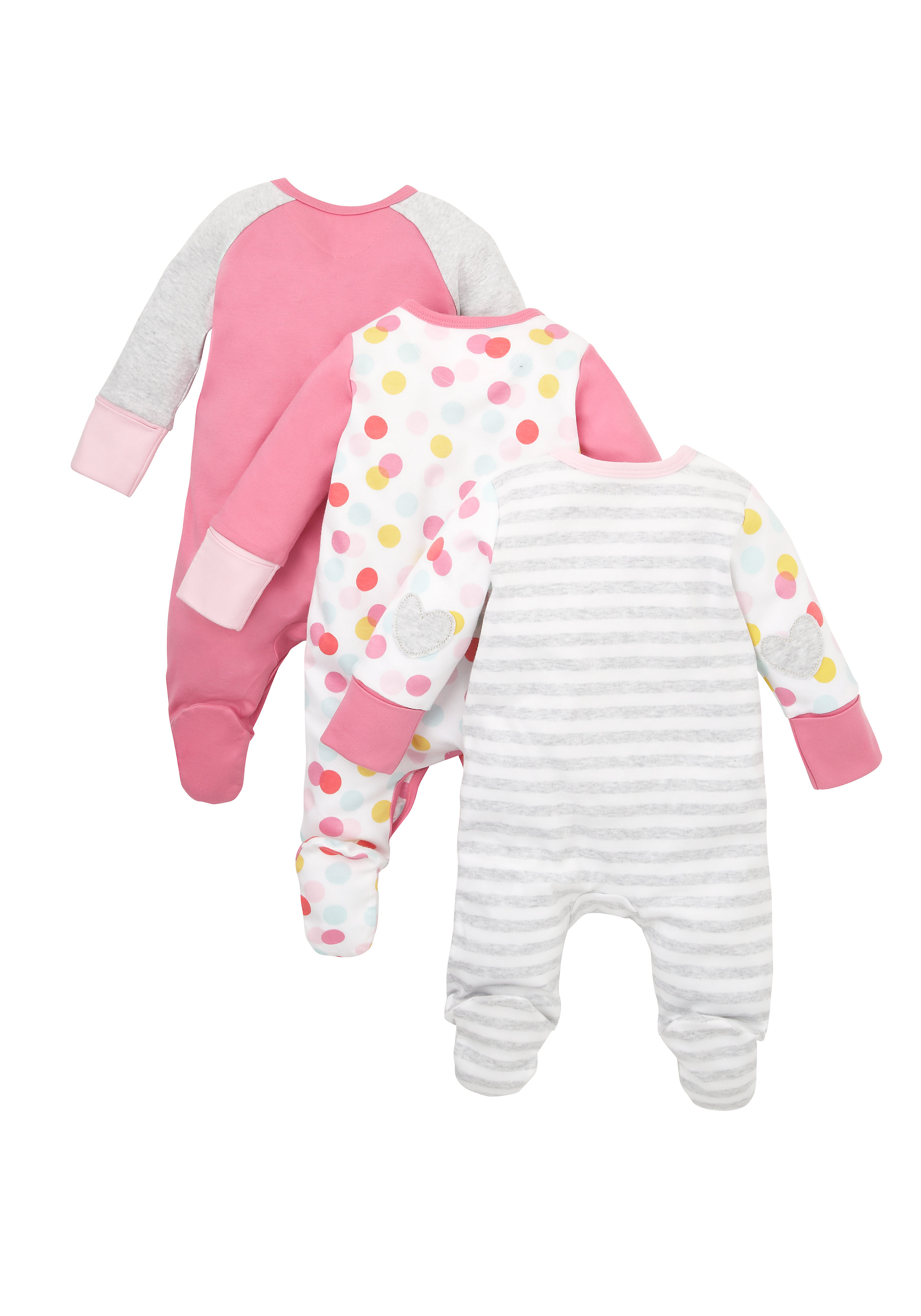 Mothercare | Girls Cat Sleepsuits - Pack Of 3 - Multicolor