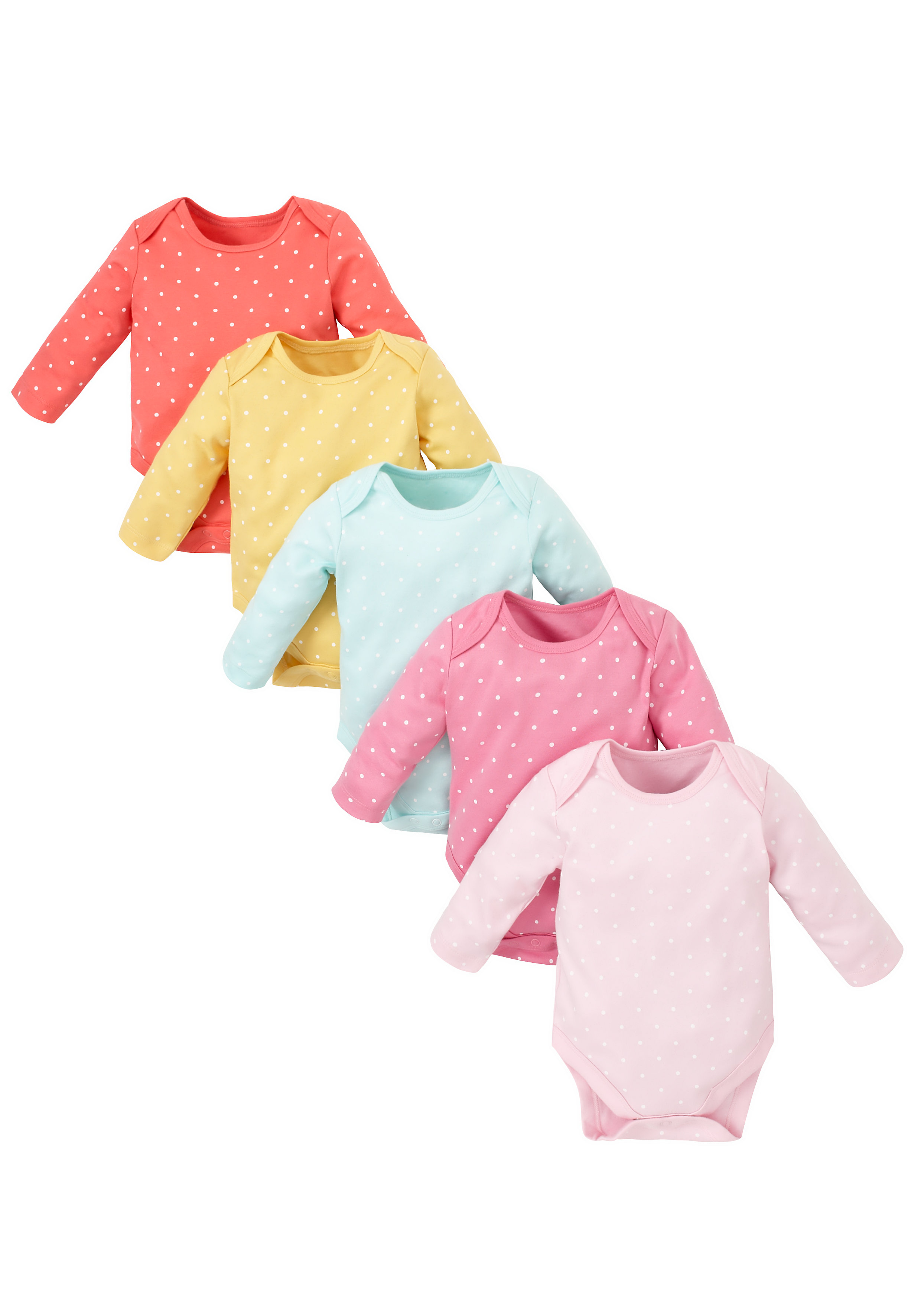 Mothercare | Girls Spotty Bodysuits - Pack Of 5 - Multicolor