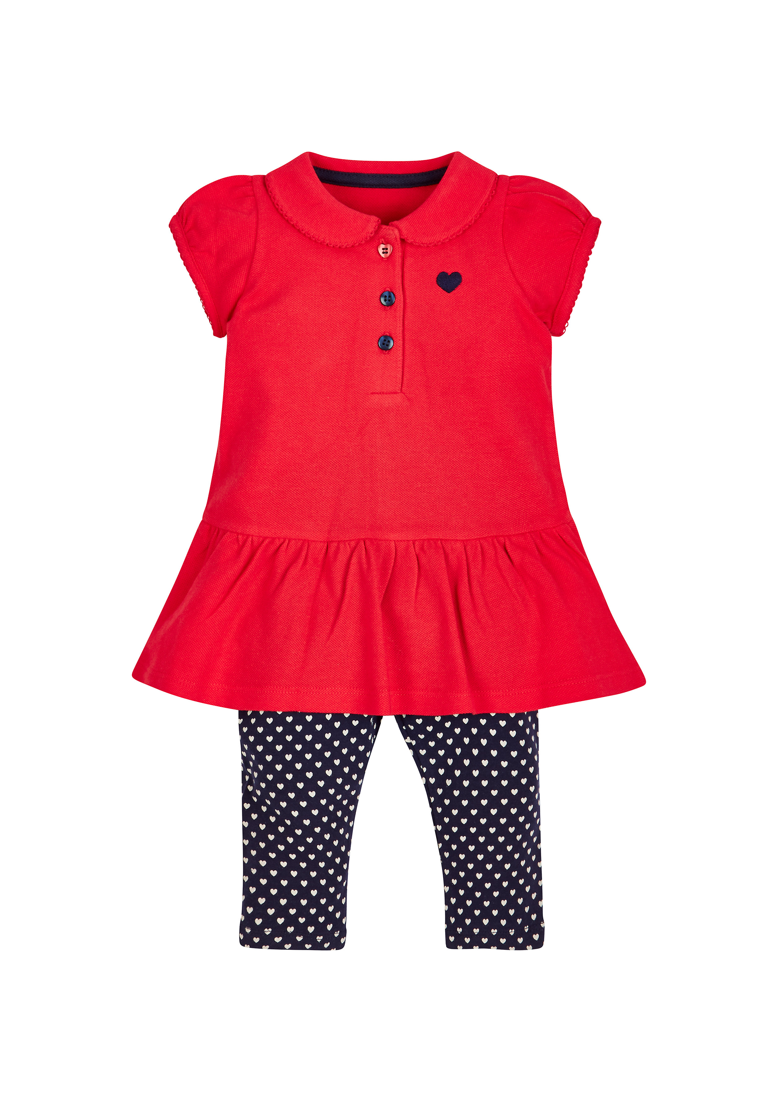 Mothercare | Girls Red Pique Dress And Navy Leggings Set