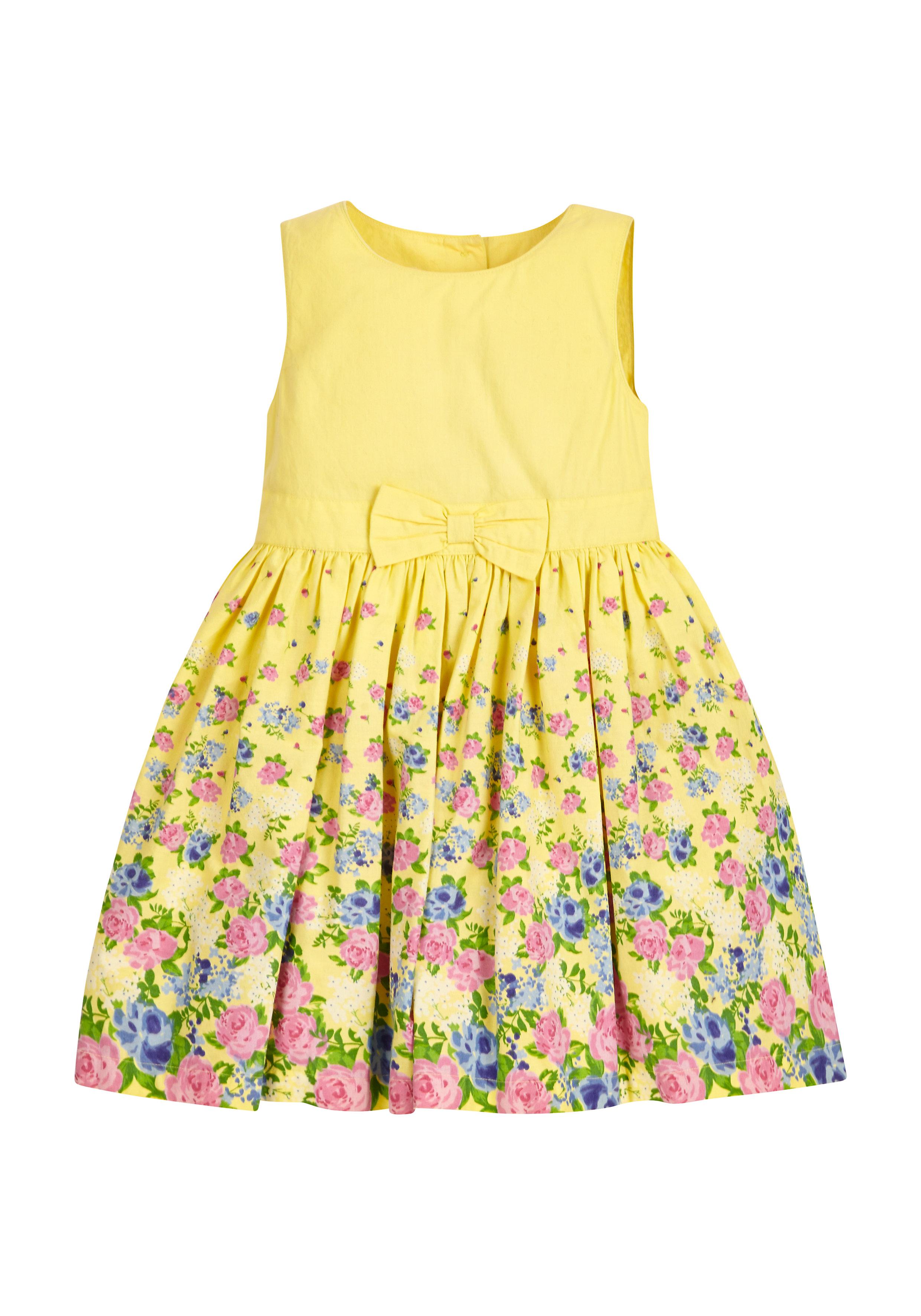 Mothercare | Girls Lemon Floral Dress - Yellow