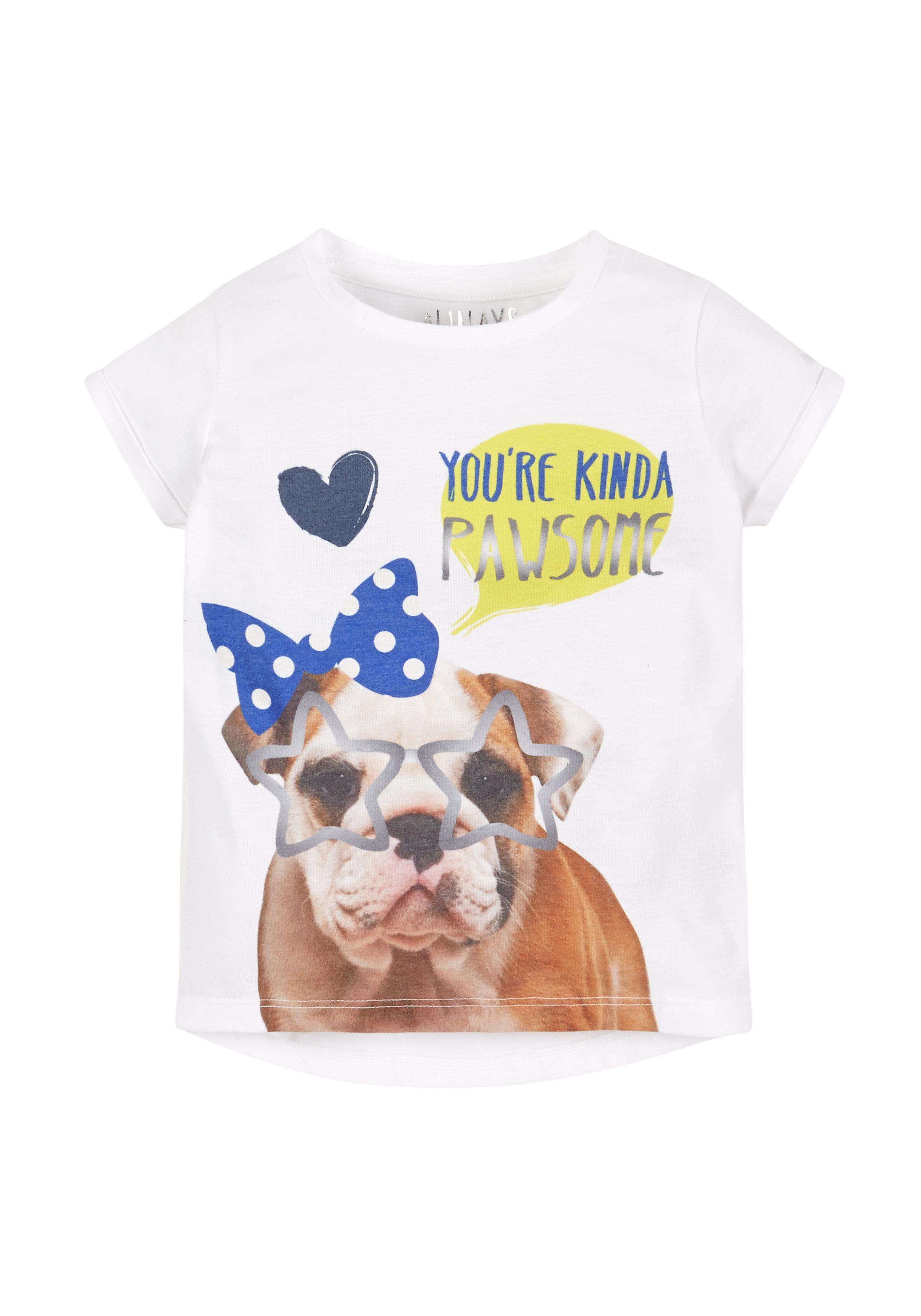 Mothercare   Girls Pawsome T-Shirt - White