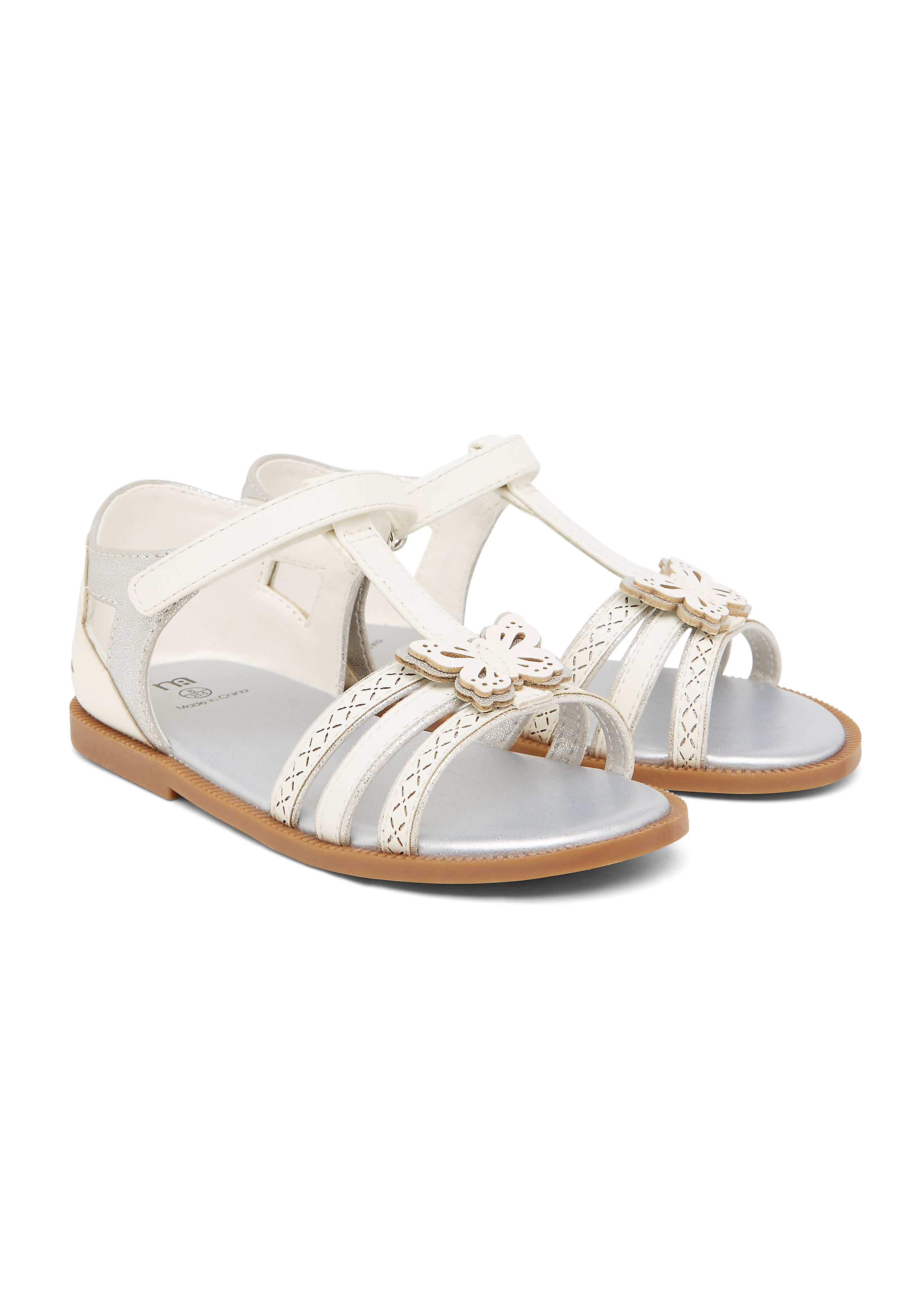 Mothercare   Girls  Butterfly Sandals - White