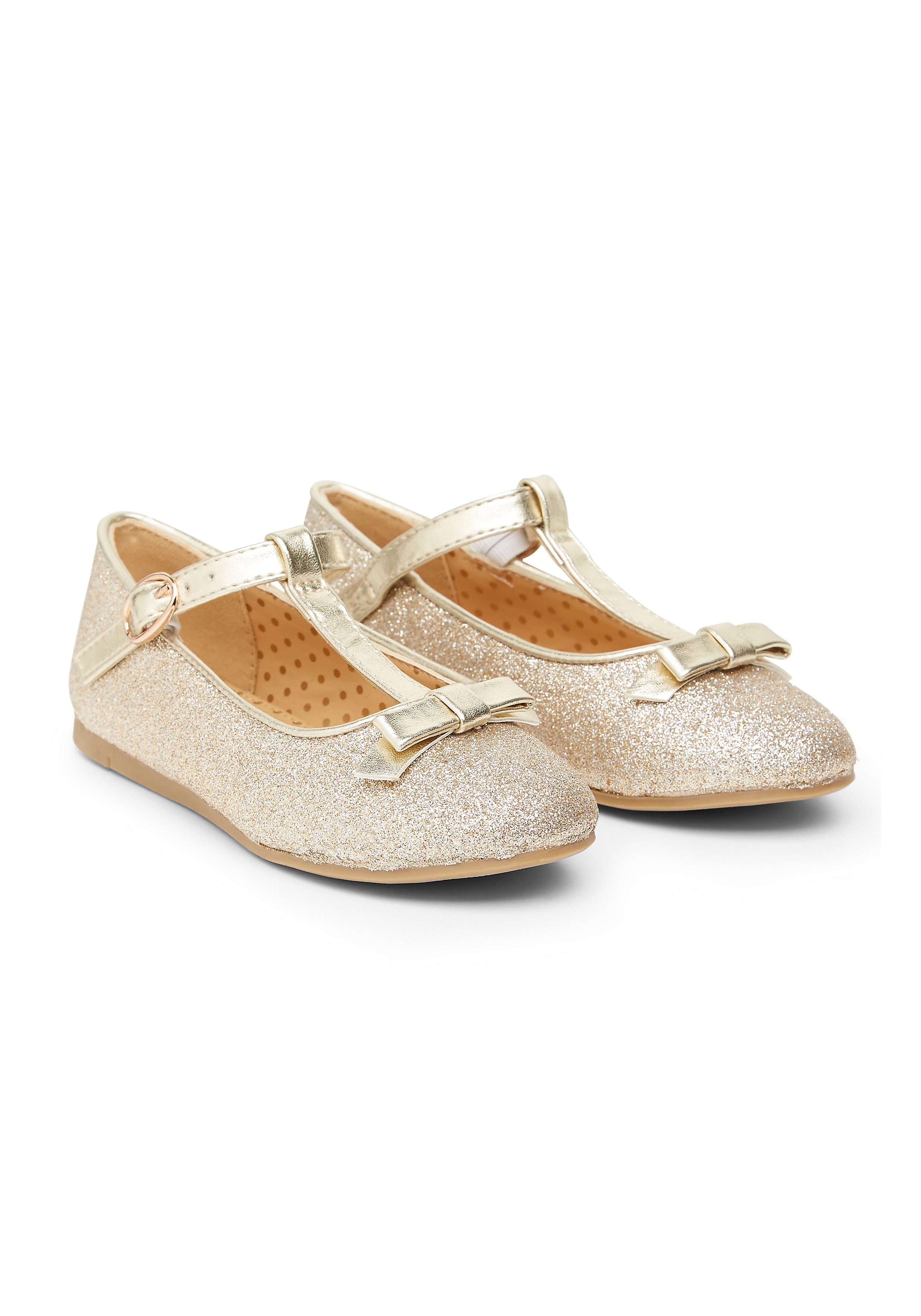 Mothercare | Girls Gold Glitter T-Bar Party Shoes