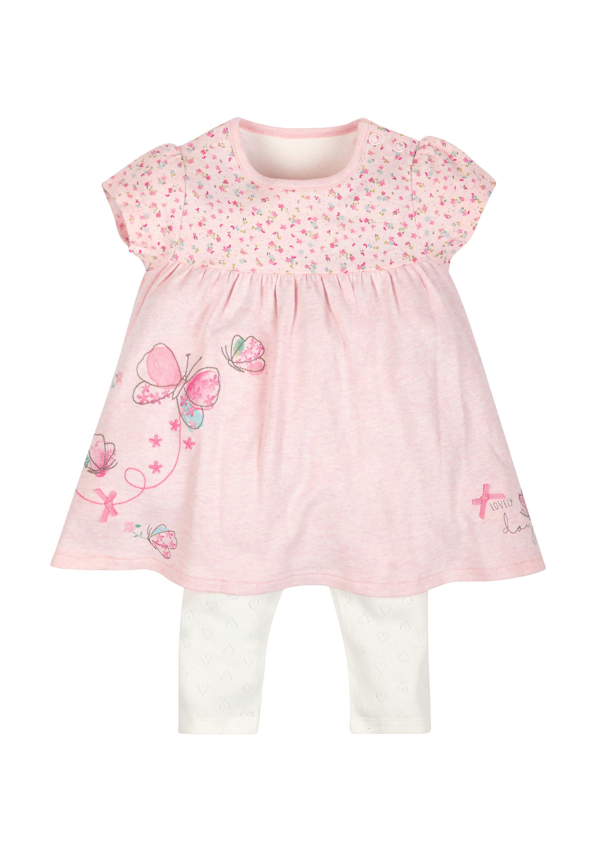Mothercare | Girls Lovely Day Dress And Leggings Set - Pink
