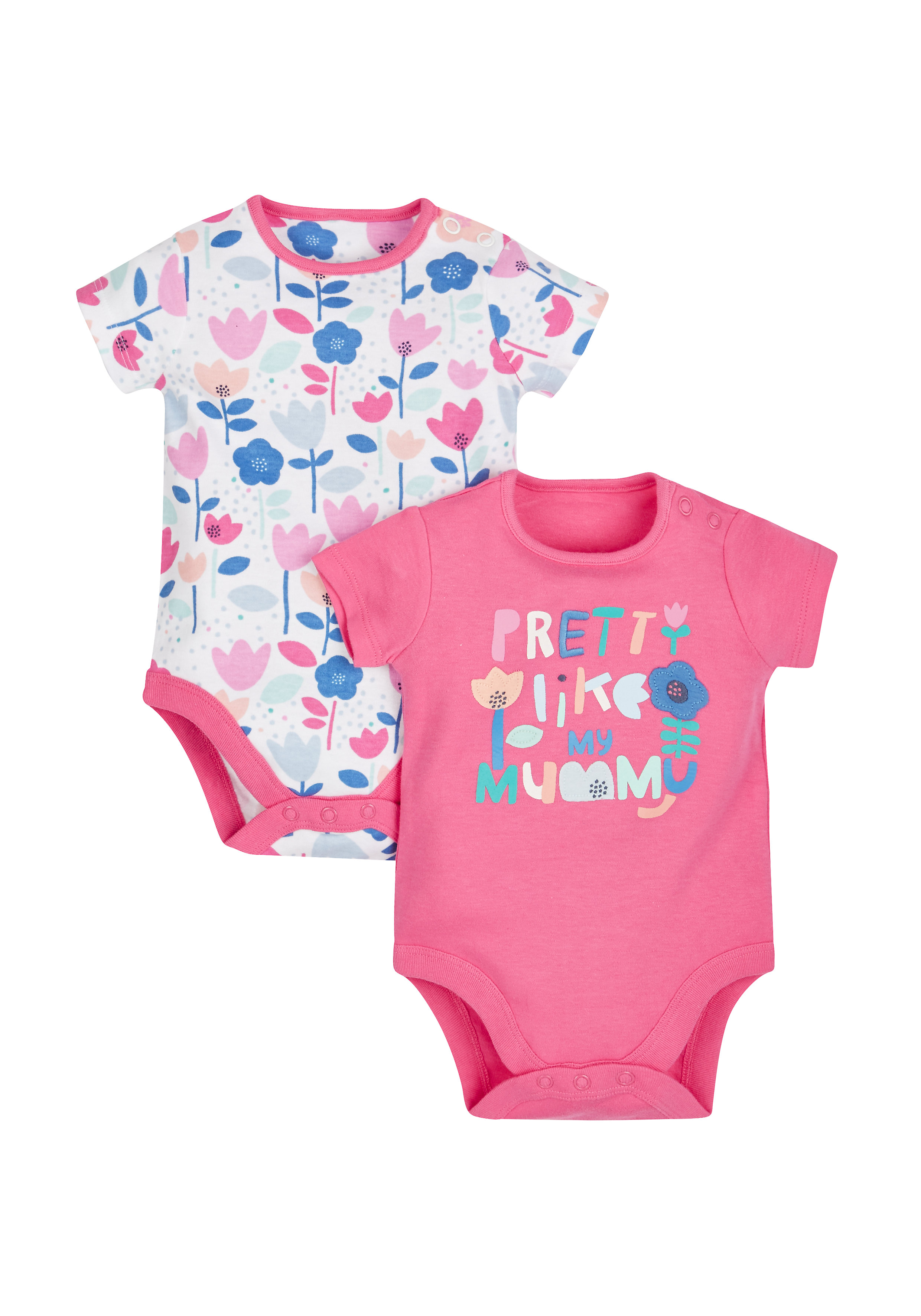Mothercare | Girls Floral And Mummy Bodysuits - Pack Of 2